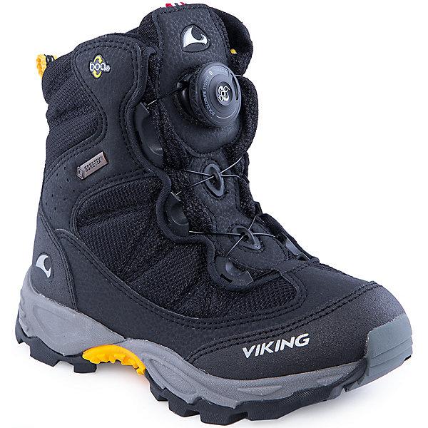 Ботинки для мальчика VIKINGБотинки<br>Прекрасные удобные зимние ботинки с теплой подкладкой. Модель застёгивается на липучки. Выглядит ультрасовременно и необычно. Может поддерживать тепло на протяжении всего дня. Необычная форма подошвы не дает ноге промокнуть.<br><br>При создании обуви Viking используется мембрана GORE-TEX, которая пропускает воздух наружу, но не пропускает  внутрь воду и ветер, сохраняя ноги сухими и теплыми.<br><br>Состав:<br>Материал верха: 80% текстиль, 20% искусственная кожа<br>Материал подклада: мембранная подкладка GORE-TEX<br>Материал подошвы: 80% EVA (этиленвинилацетат) / 20% натуральная резина<br><br>Ширина мм: 262<br>Глубина мм: 176<br>Высота мм: 97<br>Вес г: 427<br>Цвет: черный<br>Возраст от месяцев: 48<br>Возраст до месяцев: 60<br>Пол: Мужской<br>Возраст: Детский<br>Размер: 28,31,32,33,35,37,38,34,36,30,41,40,39,29<br>SKU: 4279038