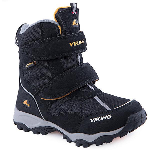 Ботинки для мальчика VIKINGБотинки<br>Прекрасные зимние ботинки марки Viking (Викинг) созданы из натуральных материалов. Чёрный цвет. Тёплая подкладка из текстиля с мембраной. Подошва на резине. В таких ботинках точно не стоит ничего бояться: ни холода, ни гололёда, ни снега. Модель оснащена застёжкой в виде липучки для большего удобства.<br><br>Состав:<br><br>Материал верха: 60% натуральная замша / 40% текстиль (100% полиэстер)<br><br>Материал подкладки: мембранная подкладка GORE-TEX (80% полиэстер, 20% натуральная шерсть)<br><br>Материал подошвы: натуральная резина<br><br>Ширина мм: 262<br>Глубина мм: 176<br>Высота мм: 97<br>Вес г: 427<br>Цвет: черный<br>Возраст от месяцев: 120<br>Возраст до месяцев: 132<br>Пол: Мужской<br>Возраст: Детский<br>Размер: 34,40,41,28,29,31,36,38,30,32,33,35,37,39<br>SKU: 4279048