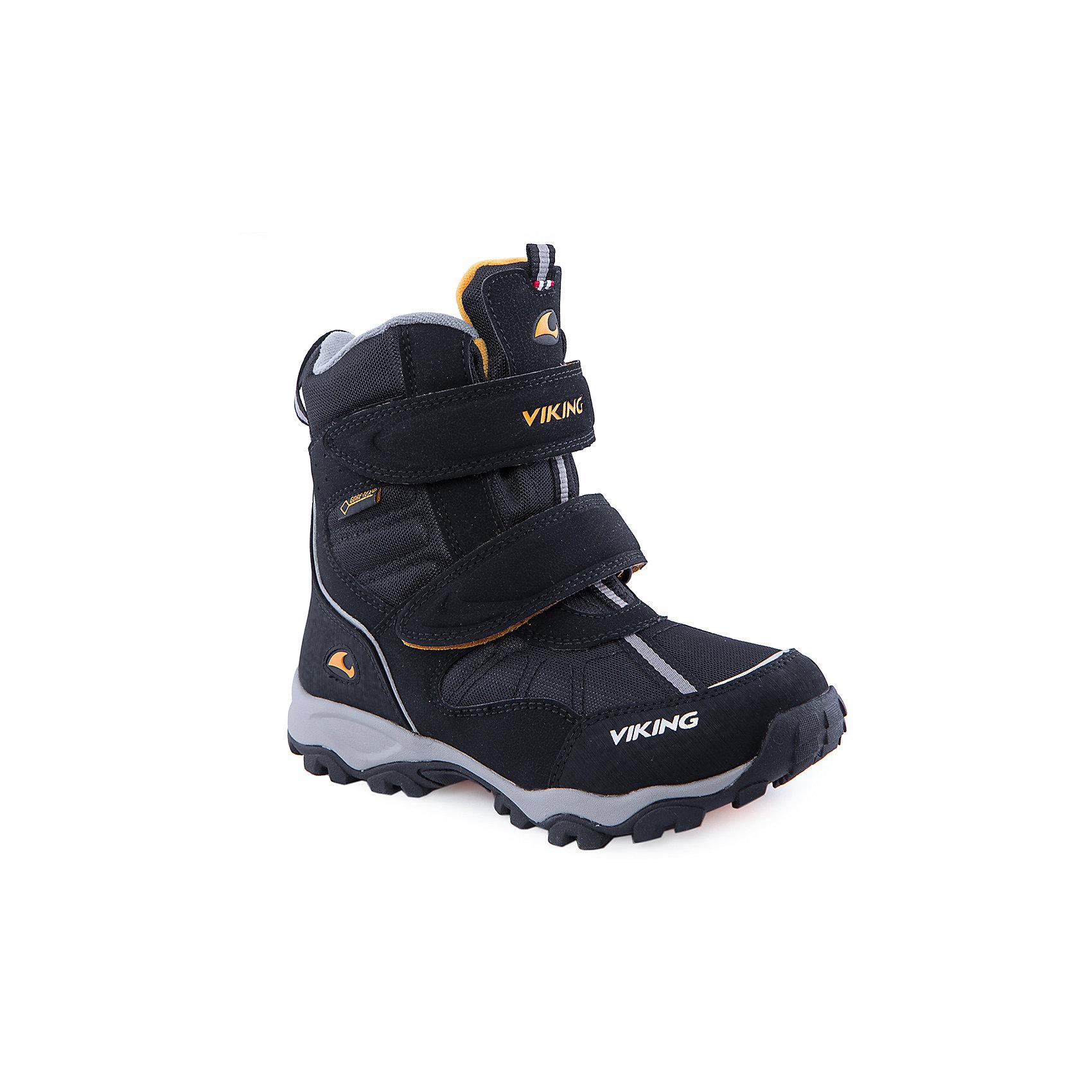 Ботинки для мальчика VIKINGПрекрасные зимние ботинки марки Viking (Викинг) созданы из натуральных материалов. Чёрный цвет. Тёплая подкладка из текстиля с мембраной. Подошва на резине. В таких ботинках точно не стоит ничего бояться: ни холода, ни гололёда, ни снега. Модель оснащена застёжкой в виде липучки для большего удобства.<br><br>Состав:<br><br>Материал верха: 60% натуральная замша / 40% текстиль (100% полиэстер)<br><br>Материал подкладки: мембранная подкладка GORE-TEX (80% полиэстер, 20% натуральная шерсть)<br><br>Материал подошвы: натуральная резина<br><br>Ширина мм: 262<br>Глубина мм: 176<br>Высота мм: 97<br>Вес г: 427<br>Цвет: черный<br>Возраст от месяцев: 72<br>Возраст до месяцев: 84<br>Пол: Мужской<br>Возраст: Детский<br>Размер: 30,34,28,29,31,36,38,32,33,35,37,39,40<br>SKU: 4279048