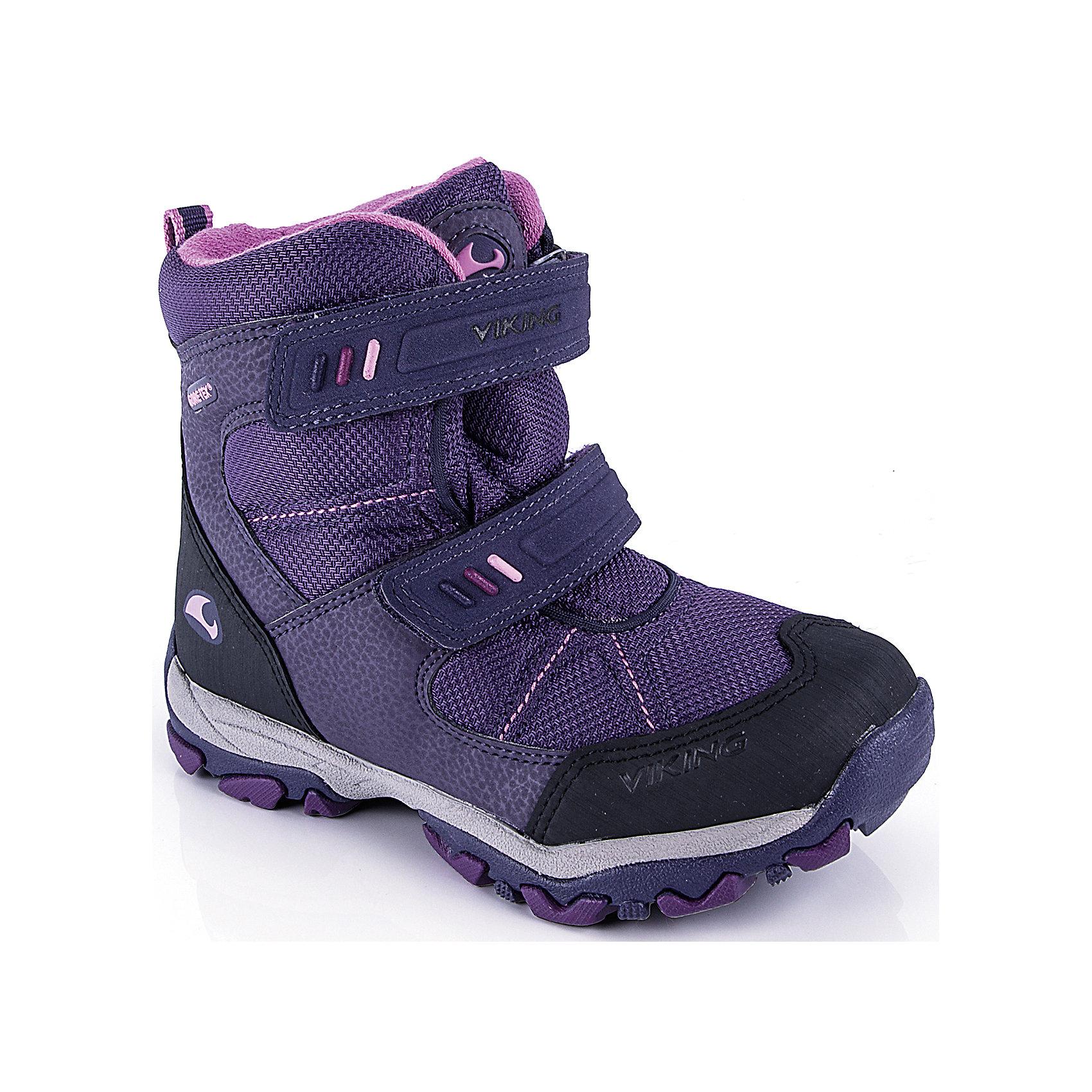 Ботинки для девочки VIKINGОчень лёгкие ботинки для очень холодного времени года. Мембрана GORE-TEX® с шерстяной вставкой отлично сохраняет тепло, не пропуская влагу. Благодаря удобной системе липучек обувь можно легко и быстро одеть в любых условиях. Незамерзающая резиновая подошва обеспечит удобство движения при любой температуре и отличное сцепление с самой скользкой поверхностью. В этой обуви находиться на улице зимой - одно удовольствие!<br>Состав: Материал верха: 60% текстиль, 40% искусственная кожа<br>Материал подклада: мембранная подкладка GORE-TEX<br><br>Ширина мм: 262<br>Глубина мм: 176<br>Высота мм: 97<br>Вес г: 427<br>Цвет: фиолетовый<br>Возраст от месяцев: 132<br>Возраст до месяцев: 144<br>Пол: Женский<br>Возраст: Детский<br>Размер: 35,34,30,28,31,33,32,29<br>SKU: 4279137