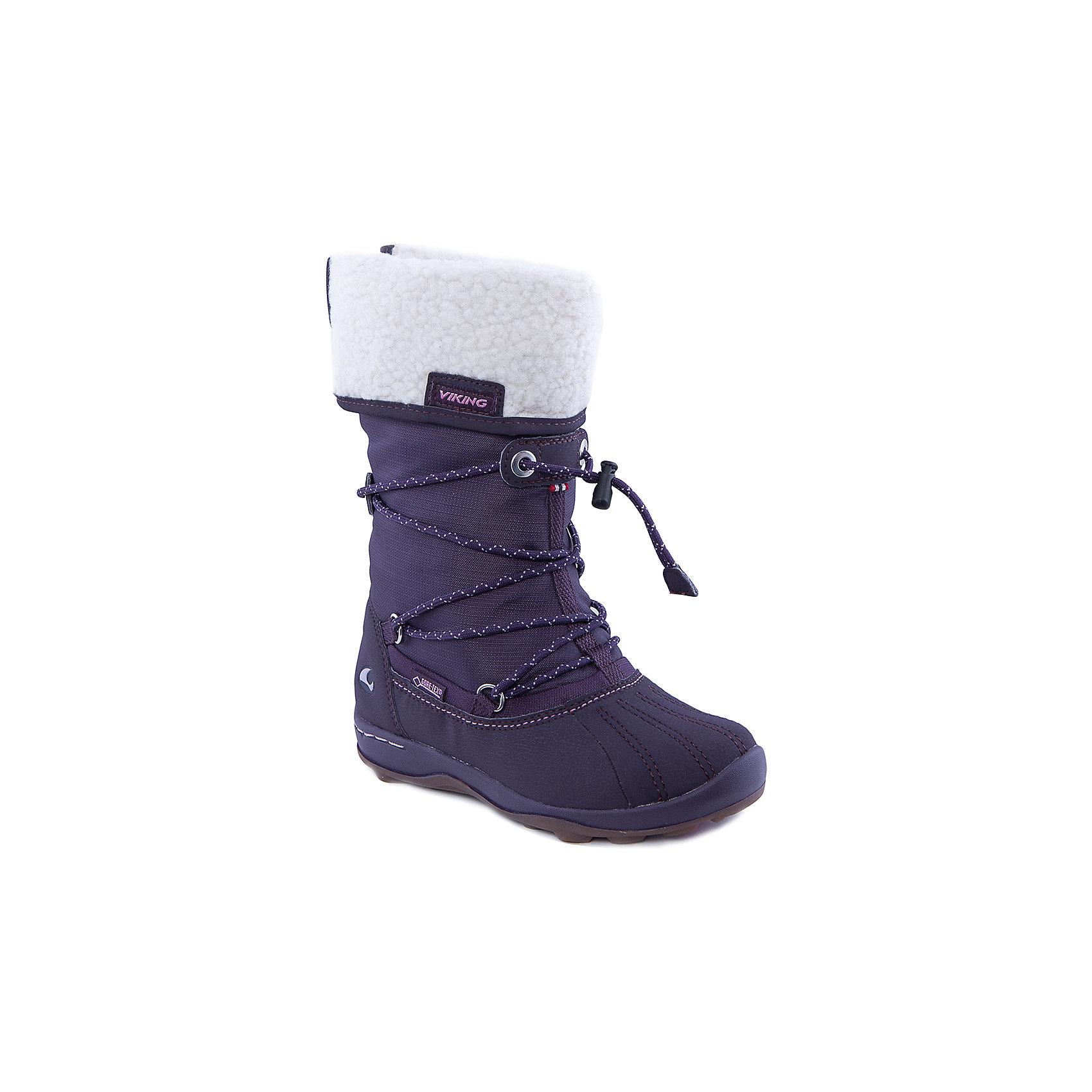 Сапоги для девочки VIKINGСапоги для девочки от популярной марки VIKING <br><br>Модные зимние сапоги сделаны по уникальной технологии. <br>Производитель обуви VIKING разработал специальную  высокотехнологичную мембрану GORE-TEX. Она добавляется в подкладку обуви и позволяют ногам оставаться сухими и теплыми. Мембрана активно отводит влагу наружу, и не дает жидкости проникать внутрь. Мембрана GORE-TEX не создает препятствий для воздуха, обеспечивая комфортные условия для детских ножек.<br><br>Отличительные особенности модели:<br><br>- цвет: фиолетовый;<br>- гибкая нескользящая подошва;<br>- утепленная стелька;<br>- отвороты из белого утепленного материала;<br>- усиленный носок и задник;<br>- эргономичная форма;<br>- мембрана GORE-TEX;<br>- специальная колодка для поддержания правильного положения стопы;<br>- удобный супинатор;<br>- застежка: эластичная шнуровка со стоппером.<br><br>Дополнительная информация:<br><br>- Температурный режим: от - 30° С  до -0° С.<br><br>- Состав:<br><br>материал верха: 60% текстиль, 20% искусственная кожа, 20% искусственный мех<br>материал подкладки: 80% шерсть, 20% полиэстер, мембрана GORE-TEX<br>подошва: резина<br><br>Сапоги для девочки VIKING (Викинг) можно купить в нашем магазине.<br><br>Ширина мм: 257<br>Глубина мм: 180<br>Высота мм: 130<br>Вес г: 420<br>Цвет: фиолетовый<br>Возраст от месяцев: 156<br>Возраст до месяцев: 168<br>Пол: Женский<br>Возраст: Детский<br>Размер: 37,31,35,34,33,32,30,36<br>SKU: 4279145