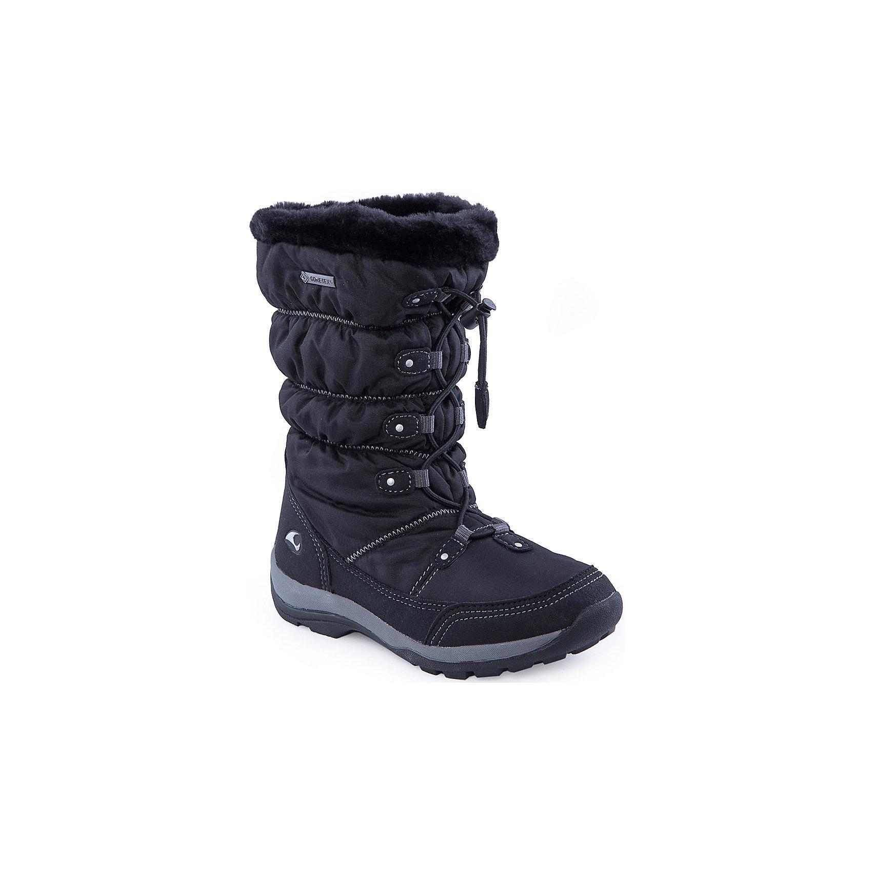 Сапоги для девочки VIKINGСапоги для девочки от популярной марки VIKING <br><br>Черные зимние сапоги сделаны по уникальной технологии. <br>Производитель обуви VIKING разработал специальную  высокотехнологичную мембрану GORE-TEX. Она добавляется в подкладку обуви и позволяют ногам оставаться сухими и теплыми. Мембрана активно отводит влагу наружу, и не дает жидкости проникать внутрь. Мембрана GORE-TEX не создает препятствий для воздуха, обеспечивая комфортные условия для детских ножек.<br><br>Отличительные особенности модели:<br><br>- цвет: черный;<br>- гибкая нескользящая подошва;<br>- утепленная стелька;<br>- небольшой вес;<br>- усиленный носок и задник;<br>- эргономичная форма;<br>- мембрана GORE-TEX;<br>- специальная колодка для поддержания правильного положения стопы;<br>- удобный супинатор;<br>- застежка: эластичная шнуровка со стоппером.<br><br>Дополнительная информация:<br><br>- Температурный режим: от - 30° С  до -0° С.<br><br>- Состав:<br><br>материал верха: 90% текстиль, 10% искусственная кожа<br>материал подкладки: 80% шерсть, 20% полиэстер, мембрана GORE-TEX<br>подошва: резина<br><br>Сапоги для девочки VIKING (Викинг) можно купить в нашем магазине.<br><br>Ширина мм: 257<br>Глубина мм: 180<br>Высота мм: 130<br>Вес г: 420<br>Цвет: черный<br>Возраст от месяцев: 84<br>Возраст до месяцев: 96<br>Пол: Женский<br>Возраст: Детский<br>Размер: 30,32,33,35,31,37,34,36<br>SKU: 4279154