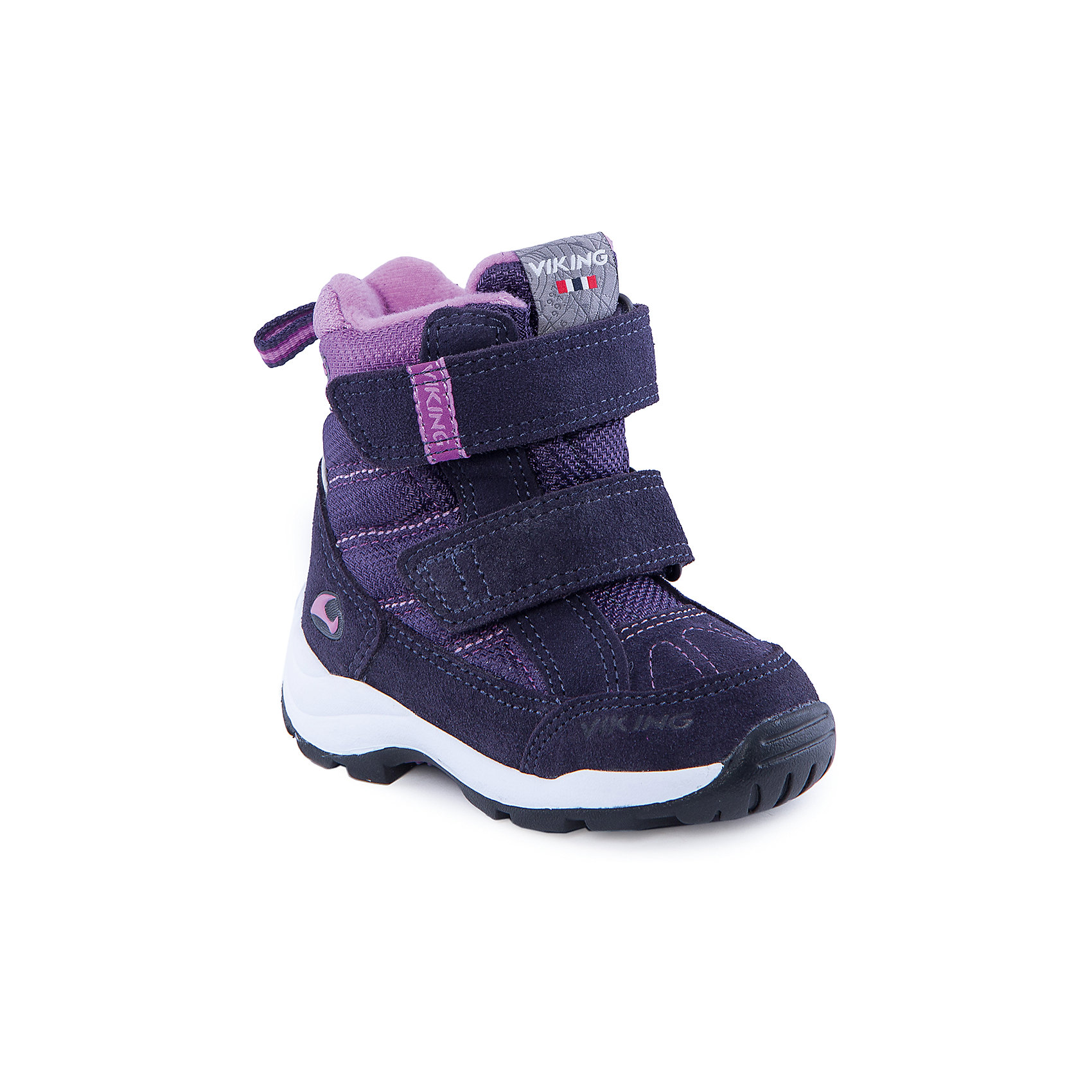 Ботинки для девочки VIKINGБотинки для девочки от популярной марки VIKING <br><br>Теплые и стильные ботинки сделаны по уникальной технологии. <br>Производитель обуви VIKING разработал специальную  высокотехнологичную мембрану GORE-TEX. Она добавляется в подкладку обуви и позволяют ногам оставаться сухими и теплыми. Мембрана активно отводит влагу наружу, и не дает жидкости проникать внутрь. Мембрана GORE-TEX не создает препятствий для воздуха, обеспечивая комфортные условия для детских ножек.<br><br>Отличительные особенности модели:<br><br>- цвет: фиолетовый;<br>- гибкая нескользящая подошва;<br>- утепленная стелька;<br>- небольшой вес;<br>- усиленный носок и задник;<br>- эргономичная форма;<br>- мембрана GORE-TEX;<br>- специальная колодка для поддержания правильного положения стопы;<br>- соединенный с ботинком язычок, не дающий снегу попасть внутрь;<br>- удобный супинатор;<br>- застежки-липучки.<br><br>Дополнительная информация:<br><br>- Температурный режим: от - 30° С  до -0° С.<br><br>- Состав:<br><br>материал верха: 50% натуральная замша, 50% текстиль<br>материал подкладки: 80% шерсть, 20% полиэстер, мембрана GORE-TEX<br>подошва: резина<br><br>Ботинки для девочки VIKING (Викинг) можно купить в нашем магазине.<br><br>Ширина мм: 262<br>Глубина мм: 176<br>Высота мм: 97<br>Вес г: 427<br>Цвет: фиолетовый<br>Возраст от месяцев: 21<br>Возраст до месяцев: 24<br>Пол: Женский<br>Возраст: Детский<br>Размер: 24,23,30,25,28,27,26,22,20,21,29<br>SKU: 4279179
