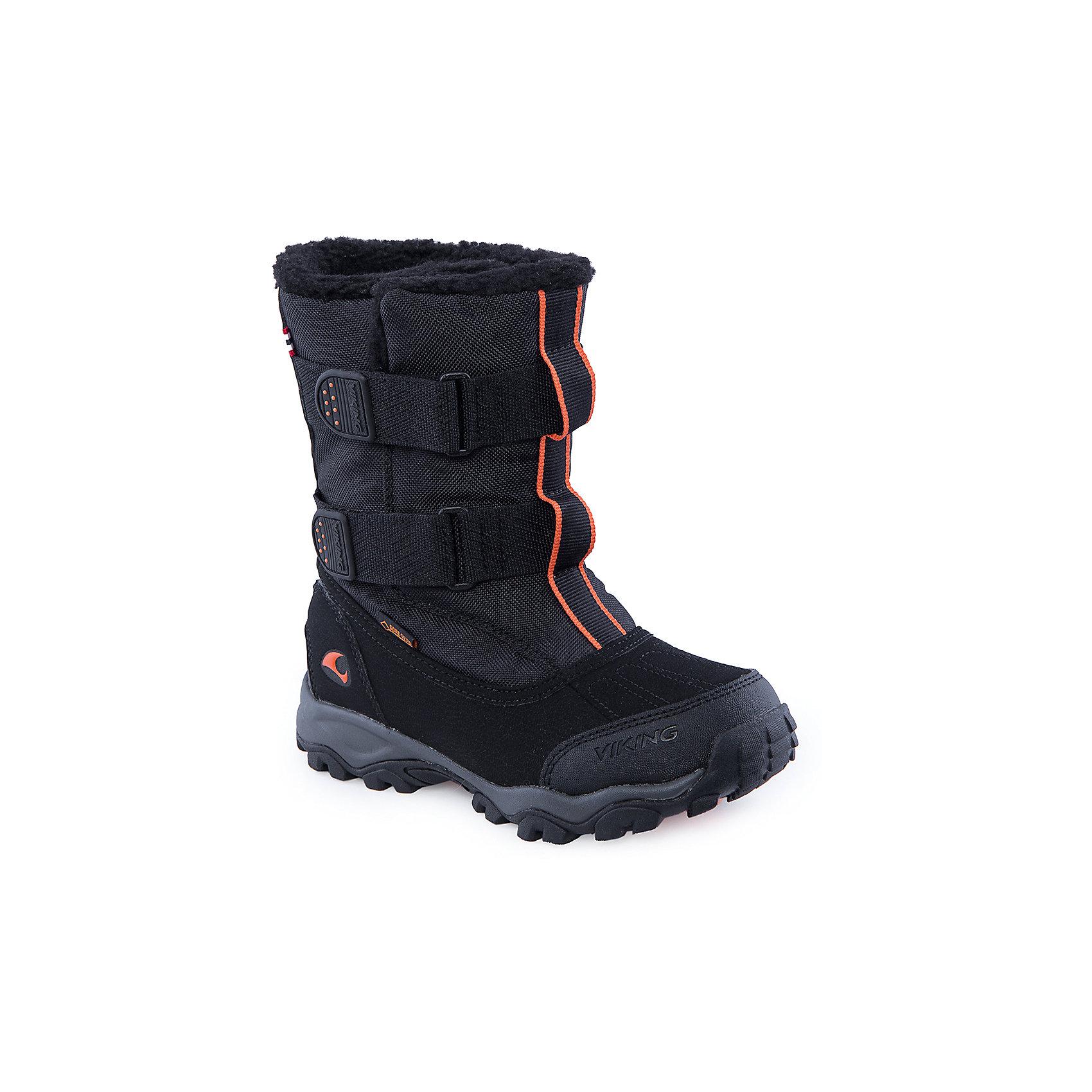 Сапоги для мальчика VikingСапоги<br>В самые сильные морозы, в самых глубоких сугробах эта обувь подарит тепло и комфорт. Ботинки с высоким голенищем сделаны из прочного синтетического материала и прекрасно сохраняют тепло за счёт шерстяной подкладки. Мембрана GORE-TEX® обеспечит водонепроницаемость, позволяя ногам дышать. Уникальная система липучек позволяет легко одевать обувь на любой подъём и застёгивать её точно по ноге. Надёжная резиновая подошва обеспечит отличное сцепление с любой поверхностью. Широкий носок подарит дополнительный комфорт и тепло ногам<br>Состав: Материал верха: 80% текстиль, 20% искусственная кожа<br>Материал подклада: мембранная подкладка GORE-TEX<br><br>Ширина мм: 262<br>Глубина мм: 176<br>Высота мм: 97<br>Вес г: 427<br>Цвет: черный<br>Возраст от месяцев: 84<br>Возраст до месяцев: 96<br>Пол: Мужской<br>Возраст: Детский<br>Размер: 31,38,30,33,36,32,34,35,37<br>SKU: 4279245