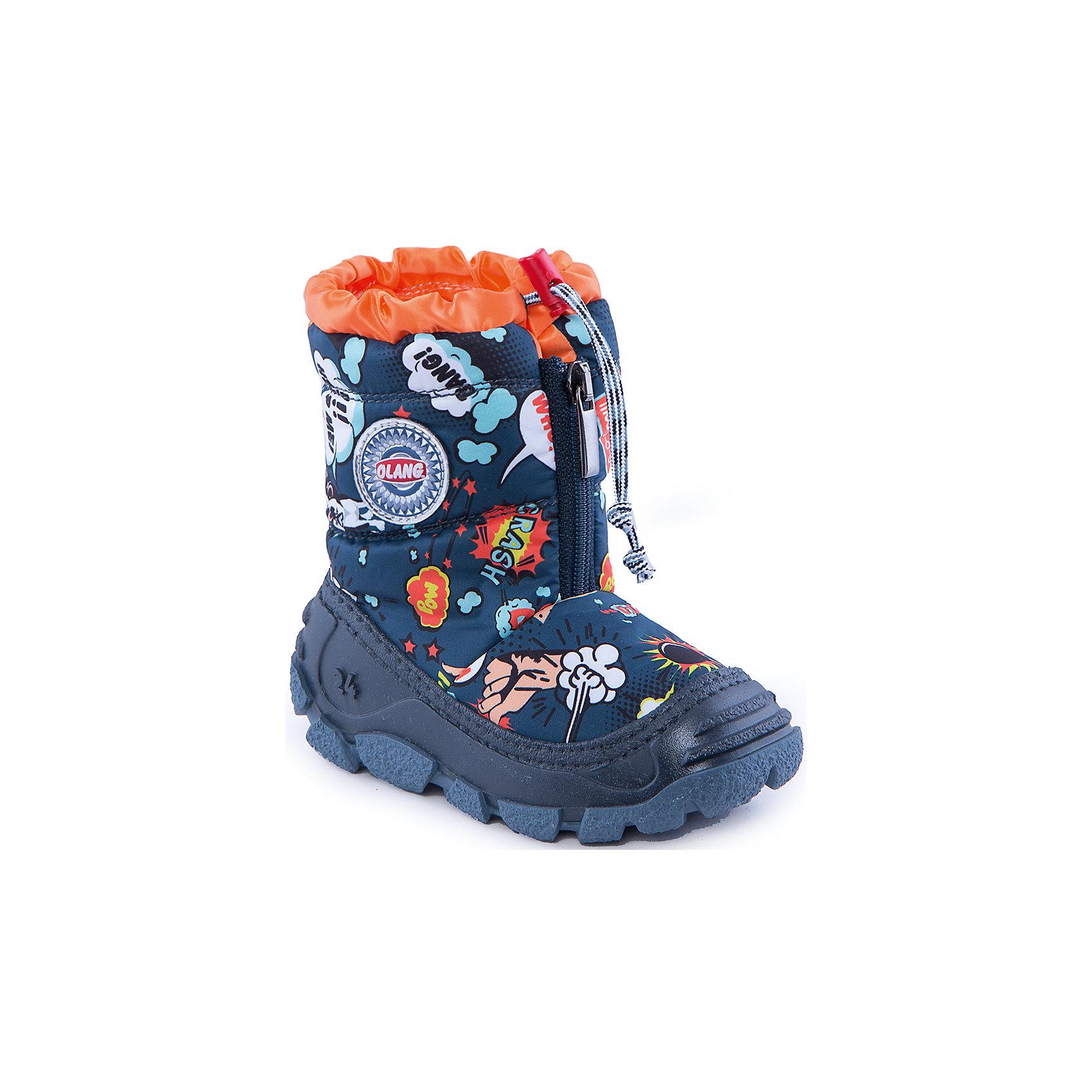 Сапоги для мальчика OlangСапоги для мальчика от известной марки Olang<br><br>Модные дутики разработаны специально для детей. <br>В холода они обеспечат детским ножкам комфорт и тепло.<br><br>Отличительные особенности модели:<br><br>- цвет: темно-синий, с принтом;<br>- устойчивая рифленая подошва;<br>- теплая стелька;<br>- усиленный носок и задник;<br>- эргономичная форма;<br>- удобная колодка;<br>- меховая подкладка;<br>- качественные материалы;<br>- высокое голенище;<br>- застежка-молния впереди, утяжка.<br><br>Дополнительная информация:<br><br>- Температурный режим: от - 20° С  до +5° С.<br><br>- Состав:<br><br>материал верха: 80% текстиль, 20% полиуретан<br>материал подкладки: искусственный мех<br>подошва: 70% ЭВА, 30% натуральная резина<br><br>Сапоги для мальчика Olang (Оланг) можно купить в нашем магазине.<br><br>Ширина мм: 257<br>Глубина мм: 180<br>Высота мм: 130<br>Вес г: 420<br>Цвет: синий<br>Возраст от месяцев: 24<br>Возраст до месяцев: 24<br>Пол: Мужской<br>Возраст: Детский<br>Размер: 25/26,27/28,29/30,23/24<br>SKU: 4279321