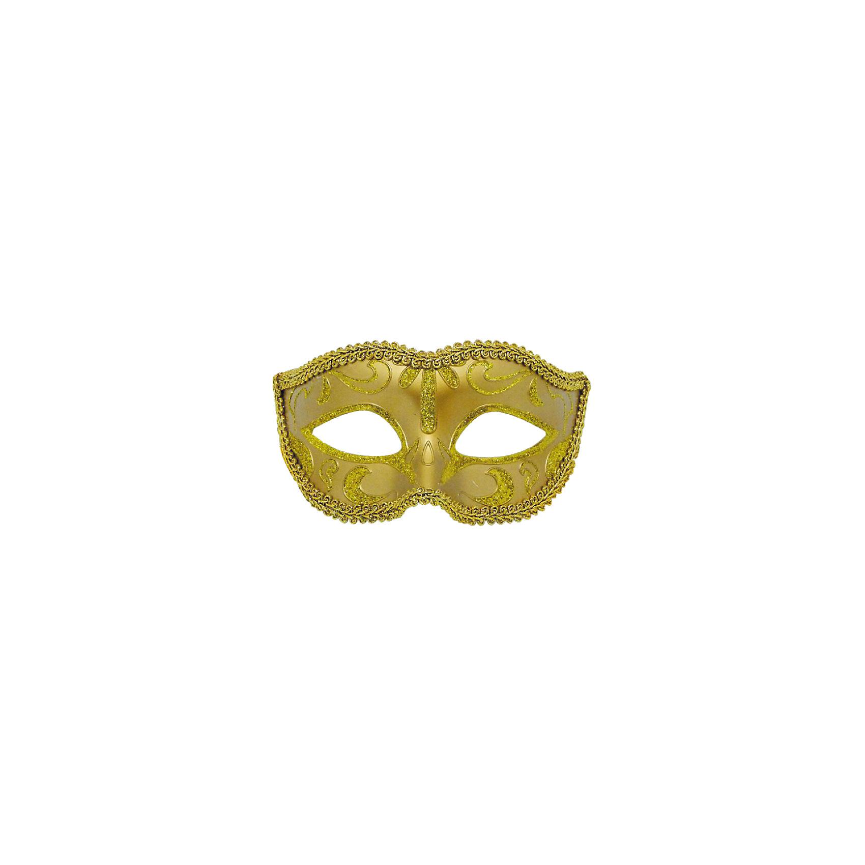 Карнавальная маска ЗолотоМаски и карнавальные костюмы<br>Карнавальная маска Золото – это возможность превратить праздник в необычное, яркое шоу.<br>Карнавальная маска Золото, изготовленная из пластика и украшенная глиттером, внесет нотку задора и веселья в праздник. Маска станет завершающим штрихом в создании праздничного образа. Изделие крепится на голове при помощи атласной ленты. В этой роскошной маске вы будете неотразимы!<br><br>Дополнительная информация:<br><br>- Размер: 15,6 х 10,3 х 7,5 см.<br>- Материал: пластик<br><br>Карнавальную маску Золото можно купить в нашем интернет-магазине.<br><br>Ширина мм: 156<br>Глубина мм: 103<br>Высота мм: 75<br>Вес г: 25<br>Возраст от месяцев: 48<br>Возраст до месяцев: 72<br>Пол: Унисекс<br>Возраст: Детский<br>SKU: 4280629