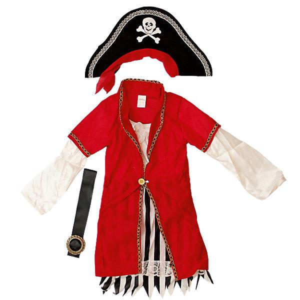 Маскарадный костюм для мальчика Пират Роджер, 4-6 летКарнавальные костюмы для мальчиков<br>Маскарадный костюм для мальчика Пират Роджер, 4-6 лет – это возможность превратить праздник в необычное, яркое шоу.<br>Детский маскарадный костюм Пират Роджер  подойдет мальчику, мечтающему о шуме моря, собственном корабле и незабываемых приключениях. Он позволит вашему малышу быть самым интересным героем на детском утреннике, маскараде и других мероприятиях. Костюм состоит из белой рубашки с красным жилетом, штанов в полоску, ремня с пряжкой, черной шляпы и накладками на обувь. Шляпа украшена черепом на костях. Такой костюм привлечет внимание друзей вашего ребенка и подчеркнет его индивидуальность. Веселое настроение и масса положительных эмоций будут обеспечены!<br><br>Дополнительная информация:<br><br>- Комплектация: шляпа, рубашка, брюки, ремень, накладки на обувь<br>- Возраста: от 4 до 6 лет<br>- Рост: 110 см.<br>- Обхват груди: 60 см.<br>- Обхват талии: 53 см.<br>- Материал: полиэстер, трикотаж<br><br>Маскарадный костюм для мальчика Пират Роджер, 4-6 лет можно купить в нашем интернет-магазине.<br><br>Ширина мм: 400<br>Глубина мм: 500<br>Высота мм: 50<br>Вес г: 700<br>Возраст от месяцев: 48<br>Возраст до месяцев: 72<br>Пол: Мужской<br>Возраст: Детский<br>SKU: 4280639