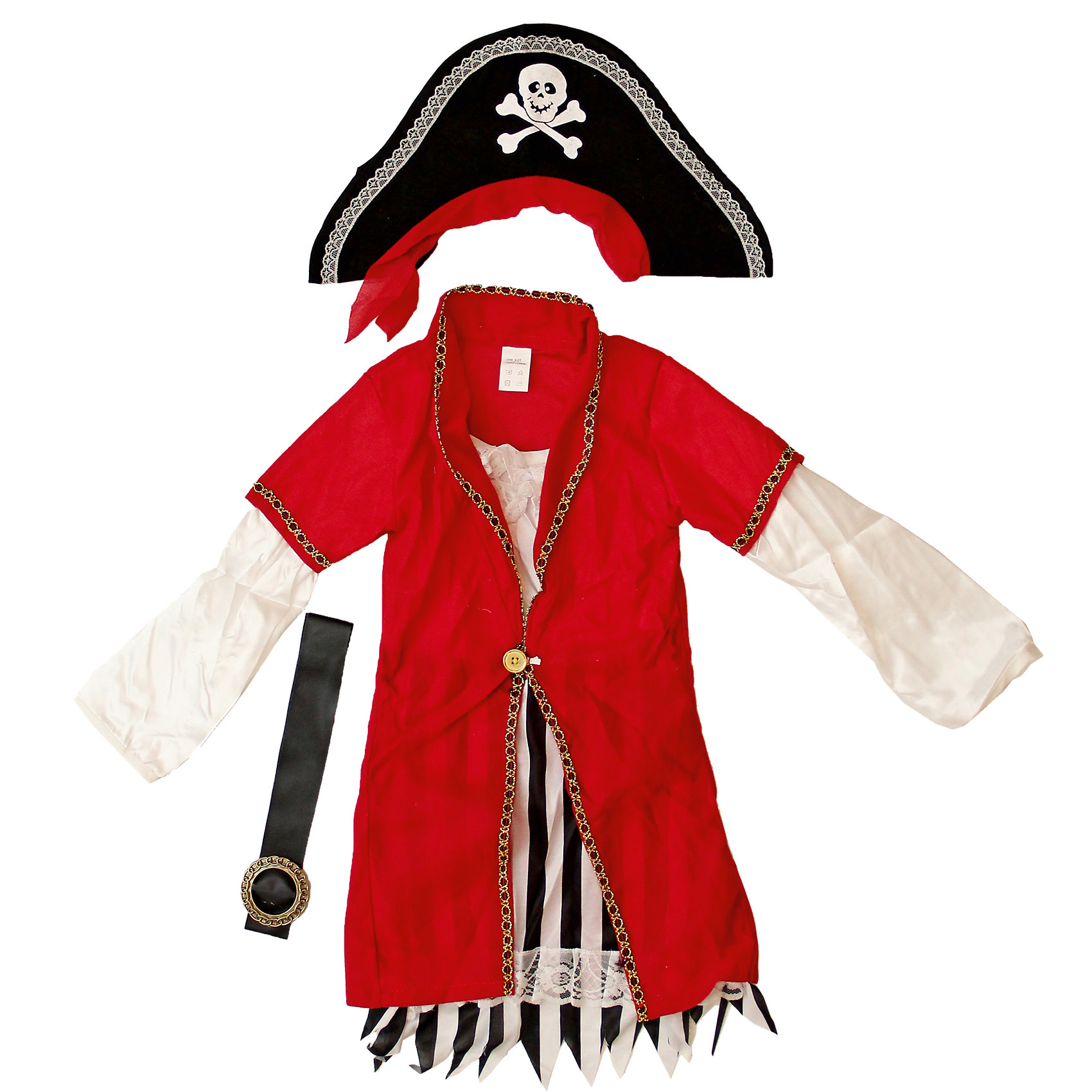 Маскарадный костюм для мальчика Пират Роджер, 4-6 летКарнавальные костюмы и аксессуары<br>Маскарадный костюм для мальчика Пират Роджер, 4-6 лет – это возможность превратить праздник в необычное, яркое шоу.<br>Детский маскарадный костюм Пират Роджер  подойдет мальчику, мечтающему о шуме моря, собственном корабле и незабываемых приключениях. Он позволит вашему малышу быть самым интересным героем на детском утреннике, маскараде и других мероприятиях. Костюм состоит из белой рубашки с красным жилетом, штанов в полоску, ремня с пряжкой, черной шляпы и накладками на обувь. Шляпа украшена черепом на костях. Такой костюм привлечет внимание друзей вашего ребенка и подчеркнет его индивидуальность. Веселое настроение и масса положительных эмоций будут обеспечены!<br><br>Дополнительная информация:<br><br>- Комплектация: шляпа, рубашка, брюки, ремень, накладки на обувь<br>- Возраста: от 4 до 6 лет<br>- Рост: 110 см.<br>- Обхват груди: 60 см.<br>- Обхват талии: 53 см.<br>- Материал: полиэстер, трикотаж<br><br>Маскарадный костюм для мальчика Пират Роджер, 4-6 лет можно купить в нашем интернет-магазине.<br><br>Ширина мм: 400<br>Глубина мм: 500<br>Высота мм: 50<br>Вес г: 700<br>Возраст от месяцев: 48<br>Возраст до месяцев: 72<br>Пол: Мужской<br>Возраст: Детский<br>SKU: 4280639