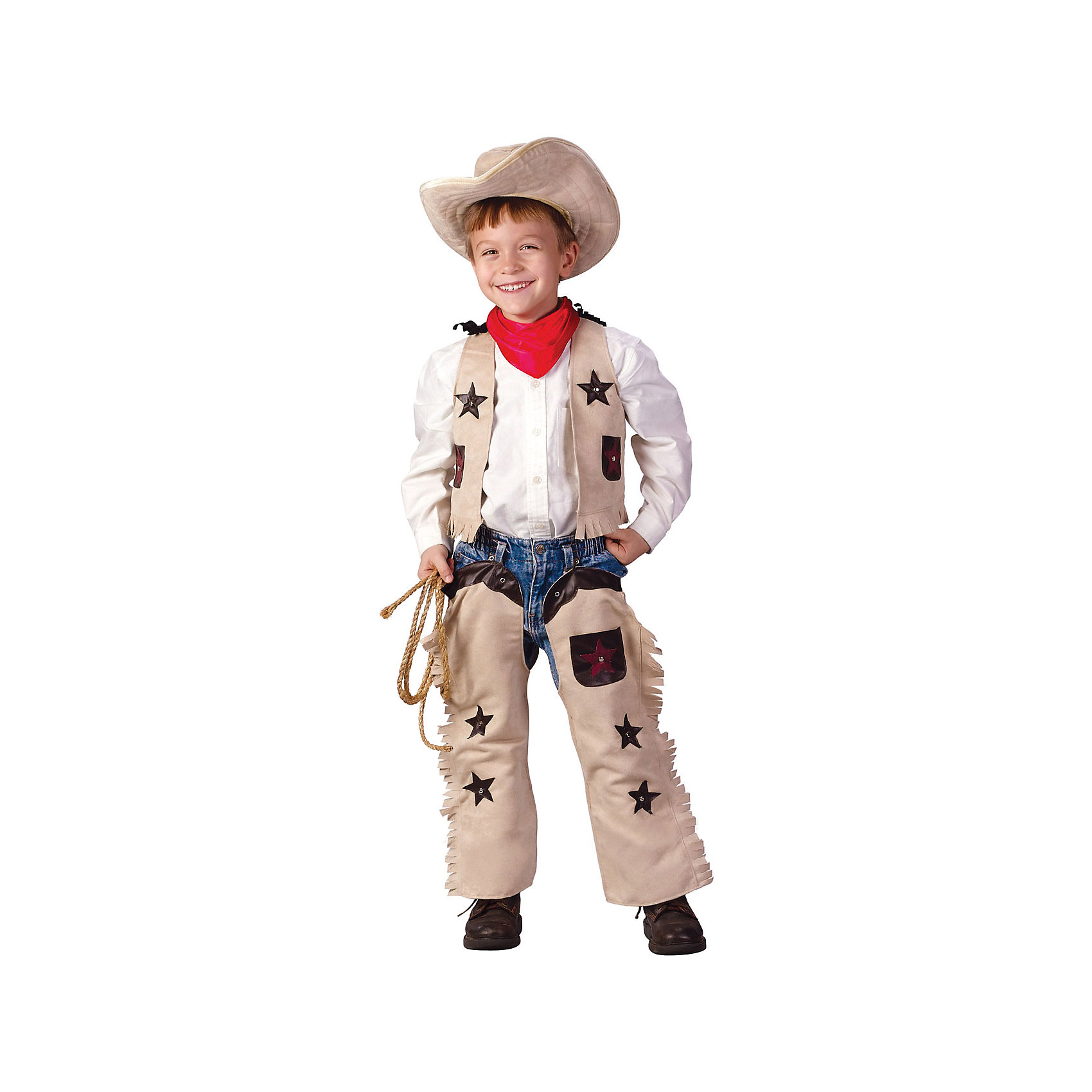 Маскарадный костюм для мальчика Ковбой, 6-8 летМаскарадный костюм для мальчика Ковбой, 6-8 лет – это возможность превратить праздник в необычное, яркое шоу.<br>Непокоренные прерии и приключения Дикого Запада воплотил в себе образ ковбоя. Какой мальчишка не хотел бы хоть на минутку перевоплотиться в этого бесстрашного персонажа. Костюм ковбоя для мальчика состоит из декорированных звездами жилета и чапсов с бахромой. Оригинальный наряд дополнен широкополой шляпой, придающей образу ореол загадочности. В таком карнавальном образе вашего мальчика обязательно заметят на новогоднем празднике или детском утреннике. Веселое настроение и масса положительных эмоций будут обеспечены!<br><br>Дополнительная информация:<br><br>- Комплектация: жилет, чапсы, шляпа<br>- Возраста: от 6 до 8 лет<br>- Рост: 125 см.<br>- Обхват груди: 65 см.<br>- Обхват талии: 57 см.<br>- Материал: полиэстер, трикотаж<br><br>Маскарадный костюм для мальчика Ковбой, 6-8 лет можно купить в нашем интернет-магазине.<br><br>Ширина мм: 400<br>Глубина мм: 500<br>Высота мм: 50<br>Вес г: 580<br>Возраст от месяцев: 72<br>Возраст до месяцев: 96<br>Пол: Мужской<br>Возраст: Детский<br>SKU: 4280652