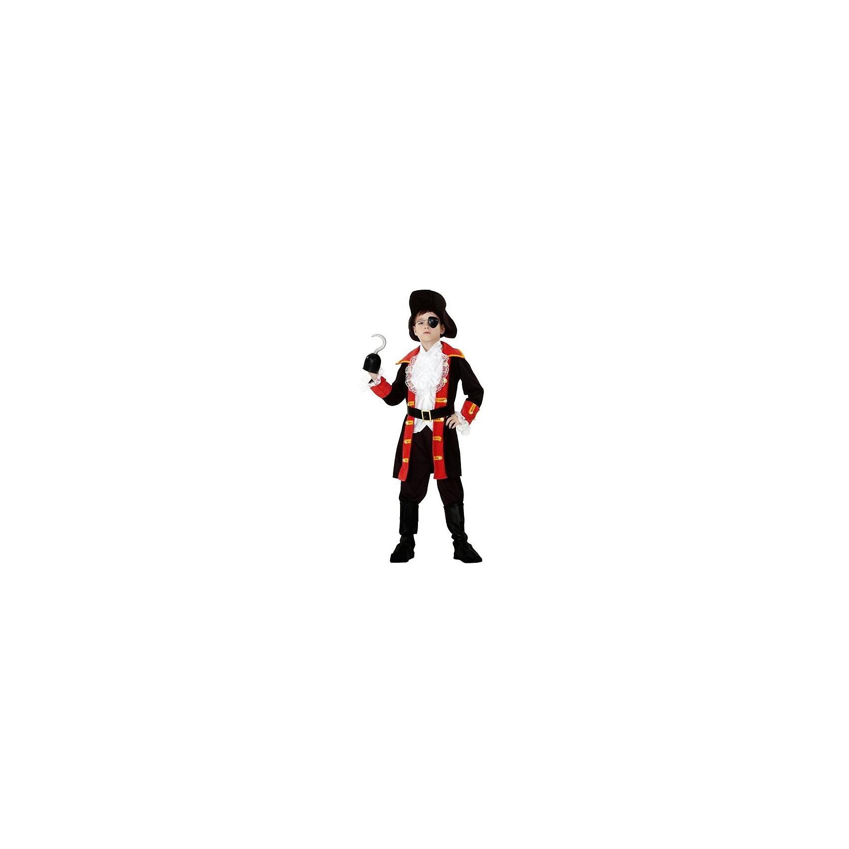 Маскарадный костюм для мальчика Капитан Крюк, 6-8 летМаскарадный костюм для мальчика Капитан Крюк, 6-8 лет – это возможность превратить праздник в необычное, яркое шоу.<br>Маскарадный костюм для мальчика Капитан Крюк по мотивам персонажа мультфильма Питер Пен позволит вашему мальчику быть самым интересным героем на детском утреннике, маскараде и других мероприятиях. Костюм состоит из черного камзола с красным воротником, лацканами и обшлагами, черных штанов, шляпы и пояса с пряжкой. Наряд грозного пирата дополнен повязкой на глаз и пластиковым крюком на руку. С таким маскарадным костюмом веселое настроение и масса положительных эмоций будут обеспечены!<br><br>Дополнительная информация:<br><br>- Комплектация: камзол, штаны, воротник, шляпа, повязка на глаз, пояс, аксессуар на руку пиратский крюк из пластика<br>- Возраста: от 6 до 8 лет<br>- Рост: 125 см.<br>- Обхват груди: 65 см.<br>- Обхват талии: 57 см.<br>- Материал: полиэстер, трикотаж<br><br>Маскарадный костюм для мальчика Капитан Крюк, 6-8 лет можно купить в нашем интернет-магазине.<br><br>Ширина мм: 400<br>Глубина мм: 500<br>Высота мм: 50<br>Вес г: 550<br>Возраст от месяцев: 72<br>Возраст до месяцев: 96<br>Пол: Мужской<br>Возраст: Детский<br>SKU: 4280653