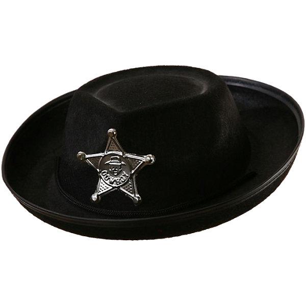 Маскарадная шляпа Шериф, чернаяДетские шляпы и колпаки<br>Маскарадная шляпа Шериф, черная – это возможность превратить праздник в необычное, яркое шоу.<br>Маскарадная шляпа Шериф, выполненная из синтетического фетра черного цвета, непревзойденный и, разумеется, обязательный аксессуар для того, чтобы вжиться в образ шерифа! Она позволит вашему малышу быть самым интересным героем на детском утреннике, маскараде и других мероприятиях. Шляпа украшена серебристой звездой с надписью cowboy. Держится шляпа при помощи текстильного шнурка с пластиковым фиксатором. С таким аксессуаром веселое настроение и масса положительных эмоций будут обеспечены!<br><br>Дополнительная информация:<br><br>- Размер: 52,5 см.<br>- Материал: синтетический фетр<br>- Цвет: черный<br><br>Маскарадную шляпу Шериф, черную можно купить в нашем интернет-магазине.<br><br>Ширина мм: 400<br>Глубина мм: 300<br>Высота мм: 100<br>Вес г: 100<br>Возраст от месяцев: 36<br>Возраст до месяцев: 1188<br>Пол: Мужской<br>Возраст: Детский<br>SKU: 4280655