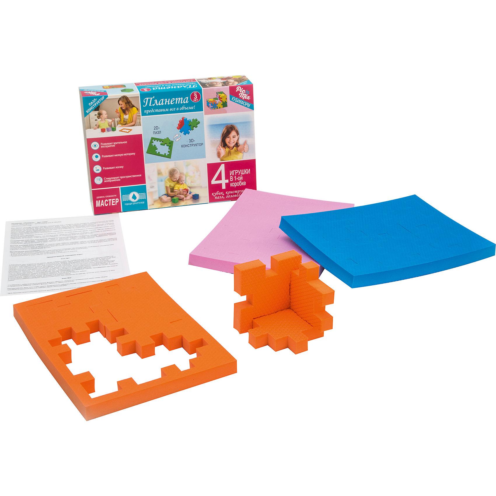 Пазл - конструктор Планета, PicnMixИгры для дошкольников<br>Пазл-конструктор обязательно понравится детям и надолго увлечет их. Игра может проводиться в 2 этапа. На первом этапе ребенок осваивает навыки составления простых элементов головоломки и запоминает 3 цвета, входящие в набор, также он усваивает такие понятия как «планета» и некоторые ключевые элементы, водной, воздушной и земной стихий, которые её составляют. На втором этапе ребенок учится собирать сложные геометрические фигуры. Пазл-конструктор стимулирует развитие мышления, логики, пространственного воображения, памяти, координации, мелкой моторики, а также помогает усвоить навыки тактильного восприятия.<br><br>Дополнительная информация:<br><br>- Материал: этиленвинилацетат.<br>- Размер: 23х5х16 см.<br><br>Пазл - конструктор Планета, Pic`n Mix, можно купить в нашем магазине.<br><br>Ширина мм: 162<br>Глубина мм: 51<br>Высота мм: 232<br>Вес г: 207<br>Возраст от месяцев: 36<br>Возраст до месяцев: 120<br>Пол: Унисекс<br>Возраст: Детский<br>SKU: 4284787