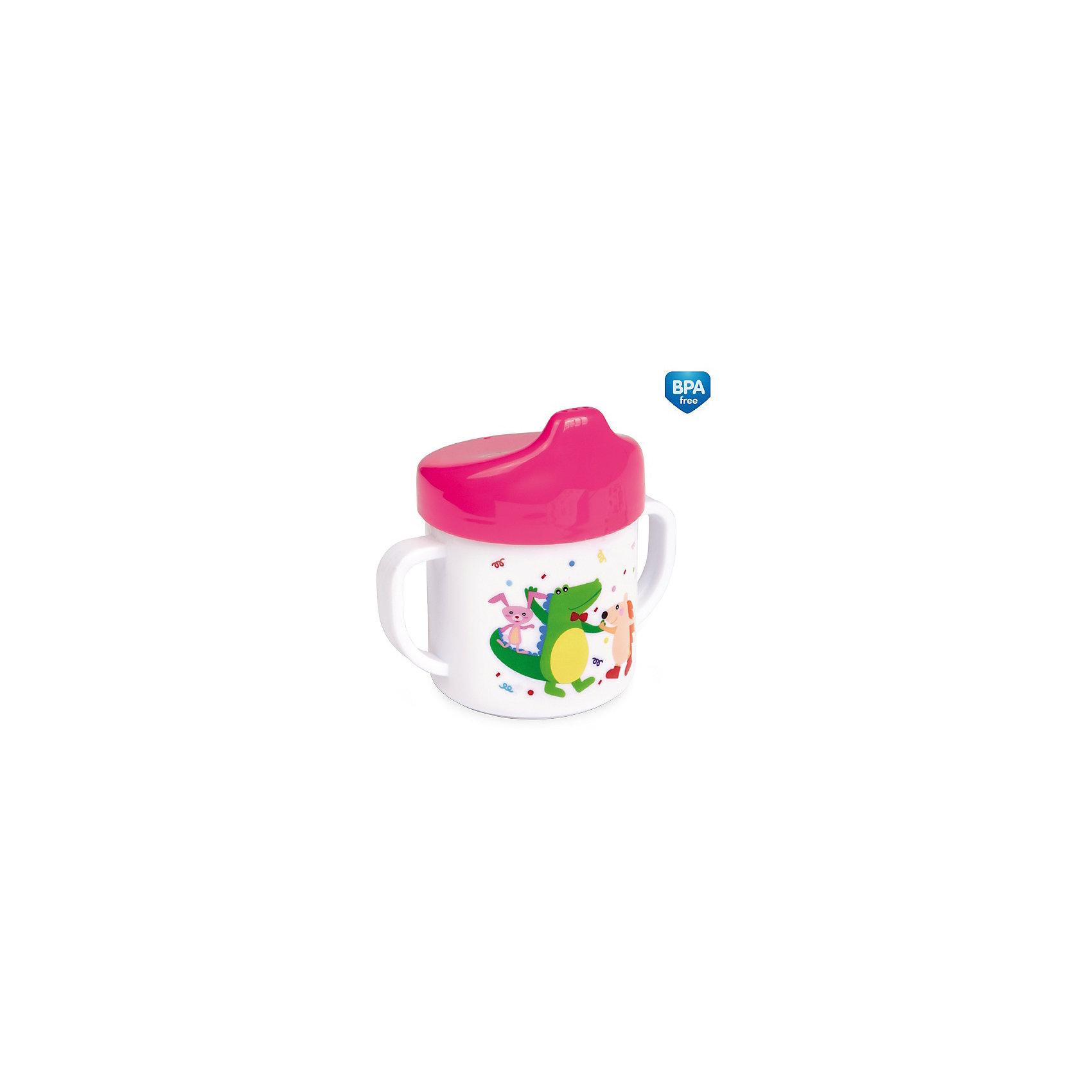 Поильник с ручками Крокодил и Ежик, 150 мл., Canpol Babies, розовыйПоильники<br>оильник с ручками от Canpol Babies идеально подойдет для малышей, которые учатся пить из чашки. Удобные ручки позволяют ребенку легко держать поильник. Герметичная крышка оснащена специальным носиком для питья, который поможет ребенку комфортно перейти от кормления из бутылочки к питью из чашки. Специальные клапаны предотвращают проливание жидкости, если поильник упадет или перевернется. Поильник имеет яркий привлекательный для ребенка дизайн и украшен забавным рисунком.<br><br>Дополнительная информация:<br>- Материал: полипропилен.<br>- Объем: 150 мл.<br>- Размер упаковки: 11 х 7 х 11 см.<br>- Вес: 0,11 кг. <br>Поильник с ручками, 150 мл.,  Canpol Babies  можно купить в нашем интернет-магазине.<br><br>Ширина мм: 105<br>Глубина мм: 70<br>Высота мм: 110<br>Вес г: 73<br>Цвет: розовый<br>Возраст от месяцев: 12<br>Возраст до месяцев: 36<br>Пол: Женский<br>Возраст: Детский<br>SKU: 4284845