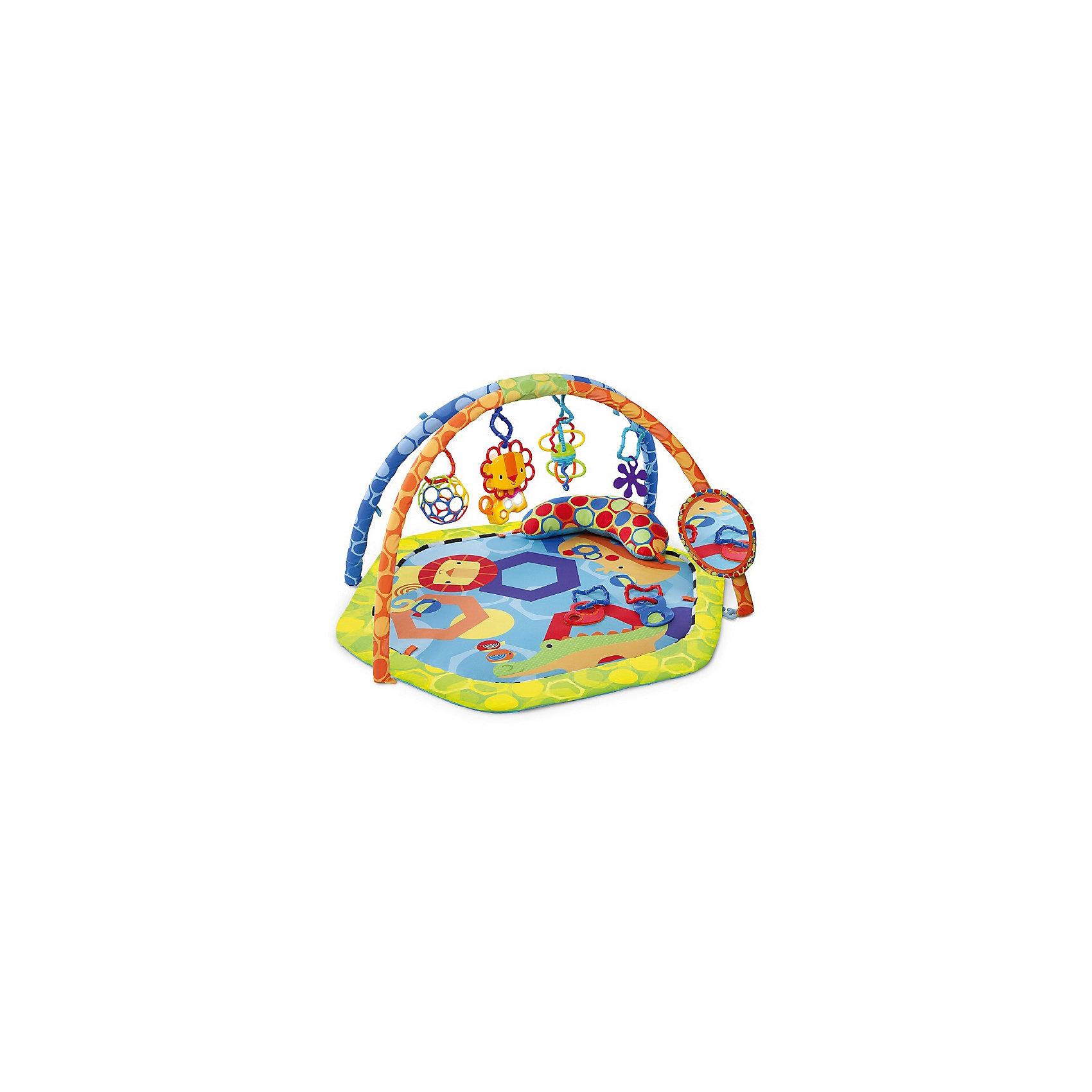 Развивающий коврик Разноцветный мир, OballИгрушки для малышей<br>Прекрасный игровой коврик обязательно понравится малышам. Яркие  изображения,  вызовут у детей исключительно позитивные эмоции.  Контрастные цвета и множество игровых элементов побуждают кроху к активным действиям, таким образом, в процессе игры он получает различные навыки. Коврик выполнен из высококачественных материалов абсолютно безопасных для детей. Легко складывается, занимает мало места, его удобно брать с собой куда угодно: в гости, на природу и даже в поездки. Все игрушки легко снимаются и могут быть использованы отдельно, например, в прогулочной коляске или манеже. Встроенные звуковые эффекты стимулируют слуховое восприятие малыша. Игрушка способствует развитию: моторики, тактильных ощущений, визуального восприятия, осознанию причины и следствия. <br><br>Дополнительная информация:<br><br>- Материал: пластик, текстиль.<br>- Размер: 74х93х46  см.<br>- Львенок проигрывает 8 мелодий и светится мягким светом.<br>- Безопасное зеркальце.<br>- Прорезыватель для зубок в виде цветочка.<br>- 2 пластиковые игрушки.<br>- Элемент питания: 2 батарейки типа АА (не входят в комплект).<br><br>Развивающий коврик Разноцветный мир, Oball, можно купить в нашем магазине.<br><br>Ширина мм: 625<br>Глубина мм: 109<br>Высота мм: 551<br>Вес г: 1995<br>Возраст от месяцев: 0<br>Возраст до месяцев: 36<br>Пол: Унисекс<br>Возраст: Детский<br>SKU: 4286057