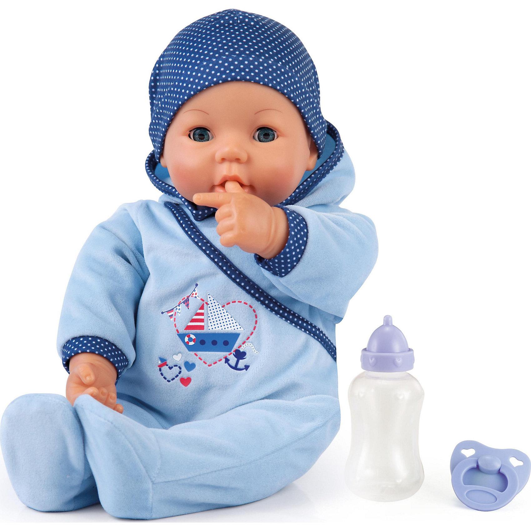 Кукла Привет малыш 46смКукла Привет малыш от Bayer(Байер) с радостью подружится с девочкой и поиграет с ней в дочки-матери. Такая куколка, несомненно, заслуживает внимания.<br><br>Особенности:<br>- глаза куклы закрываются и открываются<br>- по-настоящему двигает губами во время кормления из бутылочки<br>- весело смеется, если погладить ей животик<br>- спит с закрытыми глазками<br>- одета в уютный комбинезон и забавную шапочку<br><br>Дополнительная информация:<br>Материал: пластик, текстиль<br>Батарейки: входят в комплект<br>Высота: 46 см<br>Вес: 1300 грамм<br><br>Куклу Привет малыш от Bayer(Байер) можно купить в нашем интернет-магазине.<br><br>Ширина мм: 434<br>Глубина мм: 271<br>Высота мм: 177<br>Вес г: 1106<br>Возраст от месяцев: 36<br>Возраст до месяцев: 60<br>Пол: Женский<br>Возраст: Детский<br>SKU: 4286200
