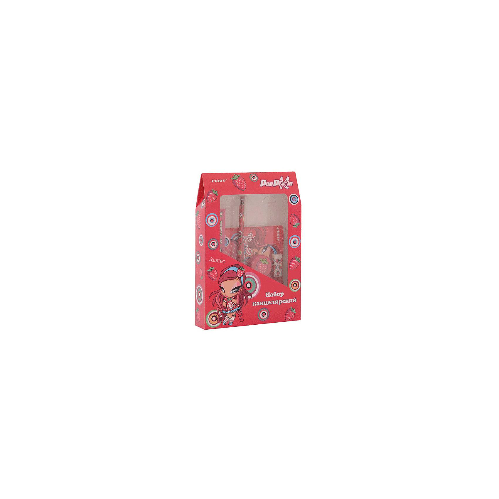 Proff Набор канцелярский PopPixie (2 карандаша HB, ластик, точилка, линейка 15 см, блокнот) академия групп канцелярский набор точилка ластик barbie