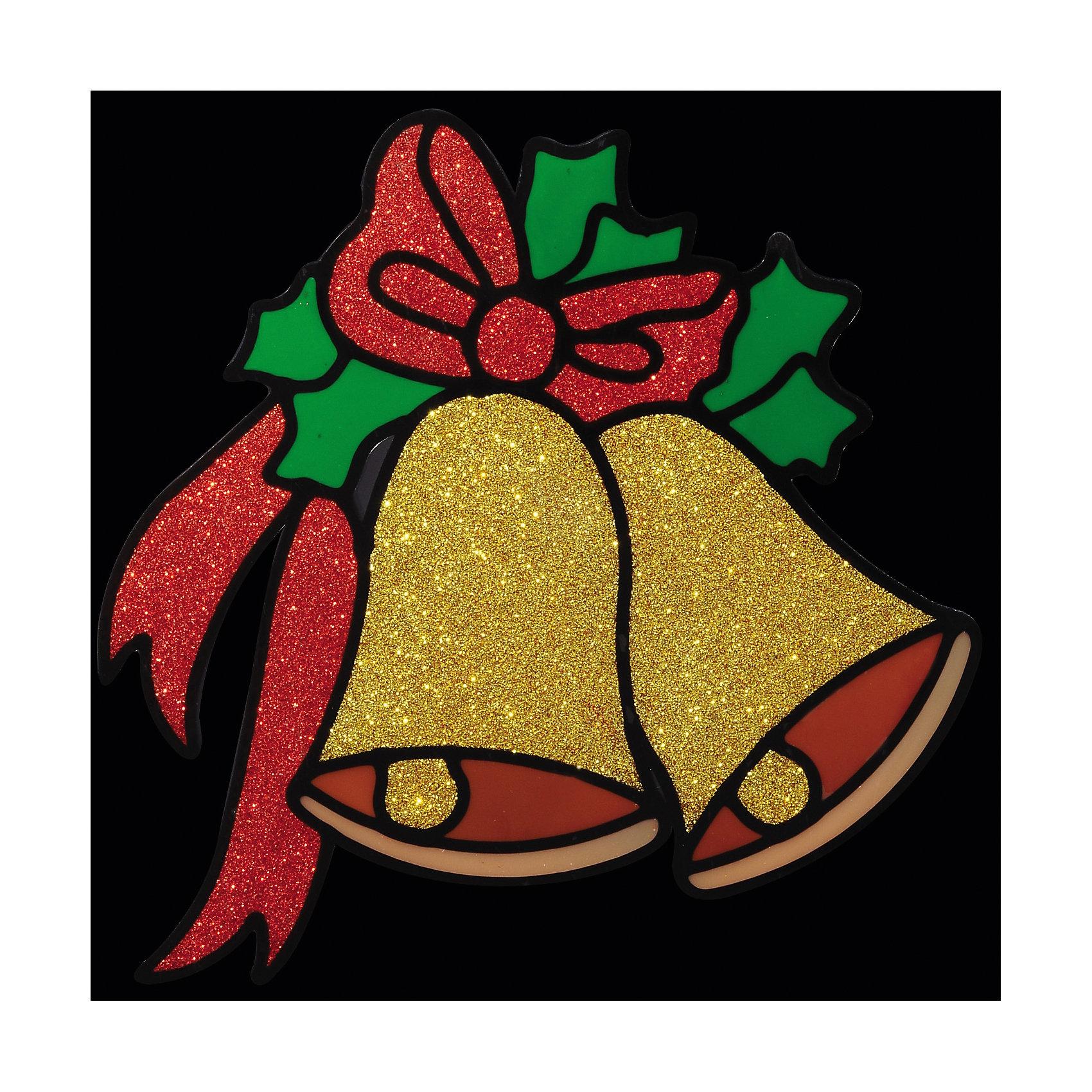 Наклейка на окно Колокольчики 14,5*14,5 смНаклейка на окно Колокольчики 14,5*14,5 см превосходно подходит для праздничного оформления витрин, окон, зеркал и других элементов интерьера. Наклейка выполнена в виде 2 колокольчиков с бантиком, богато обсыпанных золотыми и красными блестками, она создаст новогоднюю атмосферу в любом помещении, превратив окно в сказочный витраж! <br><br>Дополнительная информация:<br>-Материалы: силикон, блестки<br>-Размер в упаковке: 14,5х0,5х14,5 см<br>-Вес в упаковке: 26 г<br>-Размер: 14,5х14,5 см<br><br>Наклейка на окно Колокольчики 14,5*14,5 см можно купить в нашем магазине.<br><br>Ширина мм: 145<br>Глубина мм: 5<br>Высота мм: 145<br>Вес г: 26<br>Возраст от месяцев: 84<br>Возраст до месяцев: 2147483647<br>Пол: Унисекс<br>Возраст: Детский<br>SKU: 4286712