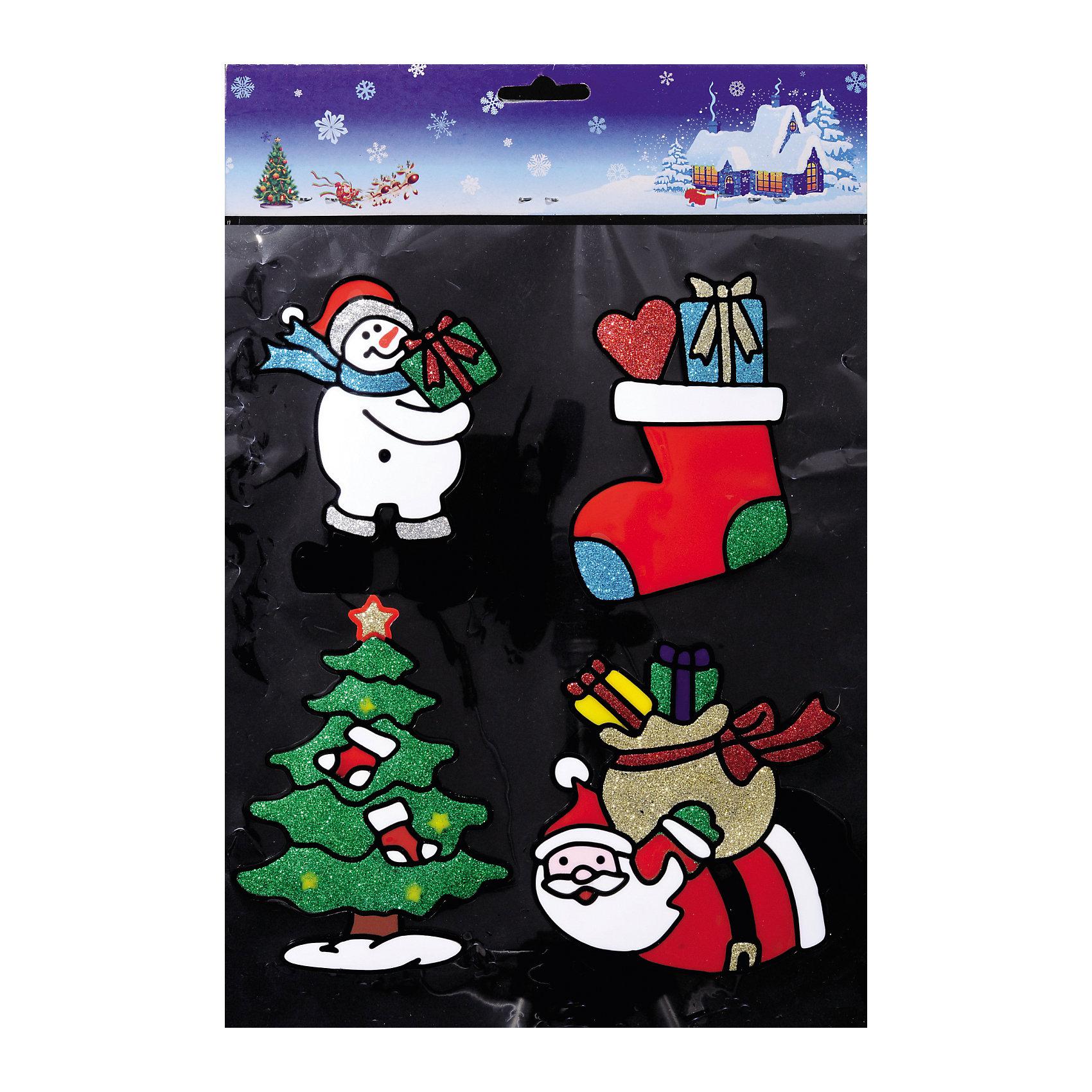 Наклейки на окно Новогодние хлопоты (4 шт) 12,5*15 смНовинки Новый Год<br>При помощи Наклеек на окно Новогодние хлопоты (4 шт) 12,5*15 см с изображениями главных символов Нового Года и Рождества (снеговик, носочек для подарков, Дед Мороз, елочка) и других аксессуаров можно составить на стекле целое зимнее панно, которое будет радовать глаз и поднимать настроение в праздничные дни! Также Вы можете преподнести этот сувенир в качестве мини-презента коллегам, близким и друзьям с пожеланиями счастливого Нового Года!<br><br>Дополнительная информация:<br>-Материалы: силикон, блестки<br>-Размер в упаковке: 12,5х0,5х15 см<br>-Вес в упаковке: 77 г<br>-Размер: 12,5х15 см<br><br>Наклейки на окно Новогодние хлопоты (4 шт) 12,5*15 см можно купить в нашем магазине.<br><br>Ширина мм: 125<br>Глубина мм: 5<br>Высота мм: 150<br>Вес г: 77<br>Возраст от месяцев: 84<br>Возраст до месяцев: 2147483647<br>Пол: Унисекс<br>Возраст: Детский<br>SKU: 4286723