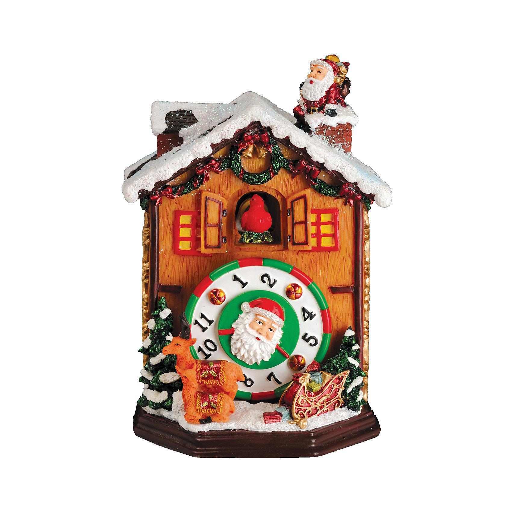 Музыкальный сувенир Часы с кукушкой 13,5 смМузыкальный сувенир Часы с кукушкой 13,5 см не только украсит ваш дом, но и станет отличным подарком к Новому Году и Рождеству. В игрушку в виде празднично украшенного домика с часами встроен музыкальный приемник, с помощь которого проигрывается приятная новогодняя мелодия. Сувенир будет отлично смотреться в любом интерьере и придаст дополнительный шарм и уют вашему дому!<br><br>Дополнительная информация:<br>-Материалы: полирезина<br>-Размер в упаковке: 9х9х13,5 см<br>-Вес в упаковке: 733 г<br>-Размер: 13,5 см<br><br>Музыкальный сувенир Часы с кукушкой 13,5 см можно купить в нашем магазине.<br><br>Ширина мм: 90<br>Глубина мм: 90<br>Высота мм: 135<br>Вес г: 733<br>Возраст от месяцев: 84<br>Возраст до месяцев: 2147483647<br>Пол: Унисекс<br>Возраст: Детский<br>SKU: 4286742