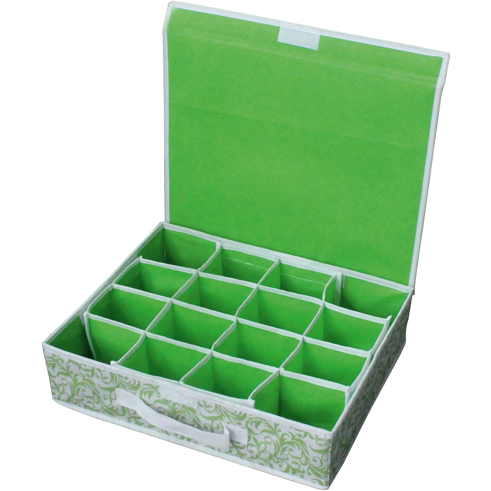 Коробка для хранения нижнего белья (16 ячеек) с откидной крышкой NWH-2, Рыжий КотКоллекция «Комфорт»<br><br>Размеры: 40*32*10см<br>Количество ячеек 16 штук<br>Откидная крышка.<br>Позволяет удобно и компактно хранить белье, носки и т.д. <br>Удобная ручка для переноски<br><br>Защищает от моли и насекомых<br>Защищает от влаги и загрязнений<br>Пылеотталкивающий, не электризующийся материал<br><br>Материал: спанбонд, картон<br><br>Ширина мм: 425<br>Глубина мм: 365<br>Высота мм: 28<br>Вес г: 592<br>Возраст от месяцев: 36<br>Возраст до месяцев: 1080<br>Пол: Унисекс<br>Возраст: Детский<br>SKU: 4288567