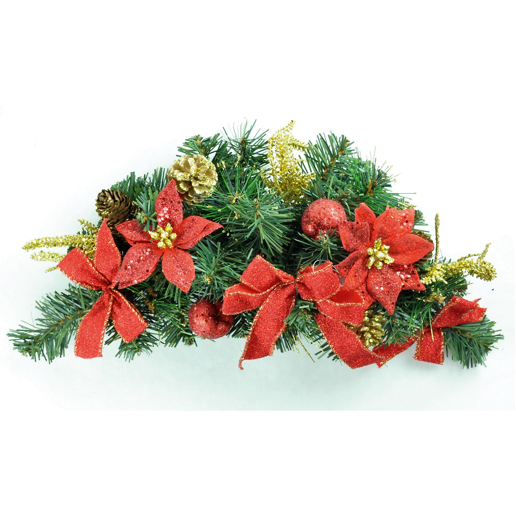 Хвойная гирлянда с красным декором, 45 смХвойная гирлянда с декором, Волшебная страна, станет замечательным украшением Вашего интерьера и поможет создать волшебную атмосферу новогодних праздников. Нарядная, искусно выполненная гирлянда в виде еловых веток украшена красными цветами, бантиками и шариками, она будет чудесно смотреться в Вашей комнате или детской и радовать детей и взрослых. <br><br>Дополнительная информация:<br><br>- Цвет украшений: красные.<br>- Длины гирлянды: 45 см.<br>- Размеры: 47 х 16 х 12 см.<br>- Вес: 0,204 кг. <br><br>Хвойную гирлянду с красным декором, Волшебная страна, можно купить в нашем интернет-магазине.<br><br>Ширина мм: 470<br>Глубина мм: 160<br>Высота мм: 120<br>Вес г: 204<br>Возраст от месяцев: 36<br>Возраст до месяцев: 2147483647<br>Пол: Унисекс<br>Возраст: Детский<br>SKU: 4288588