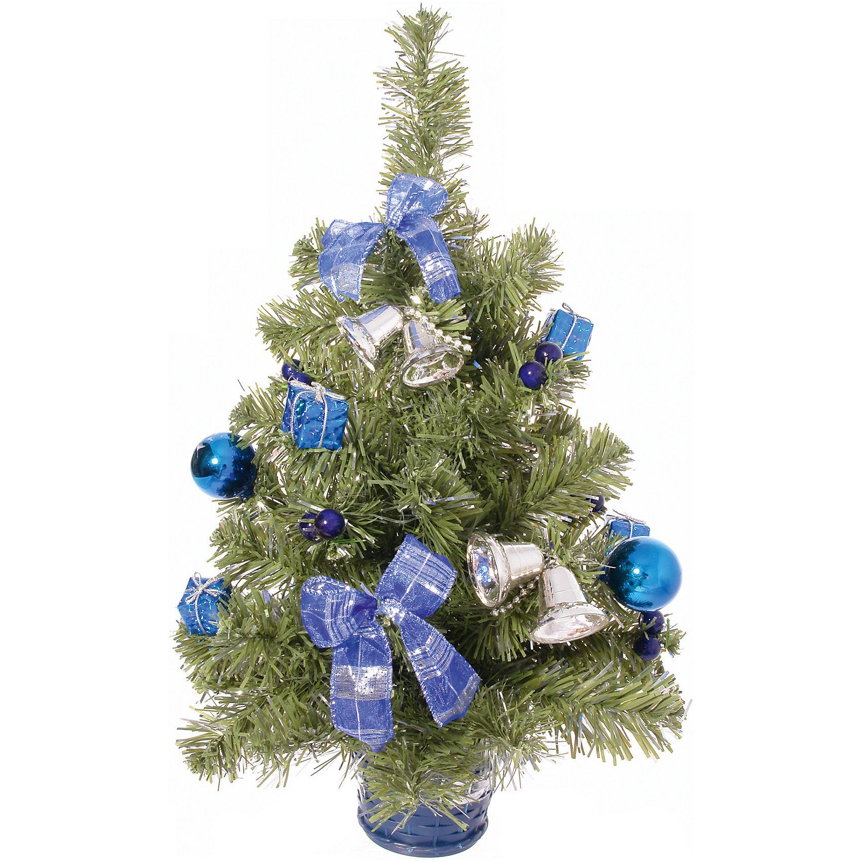 Ель 51 см с синим декоромЕль с синим декором, Волшебная страна, станет замечательным украшением Вашего интерьера и приятным сувениром для родных и друзей. Нарядная, компактная елочка порадует и взрослых и детей и создаст волшебную атмосферу новогодних праздников. Елочка имеет подставку и украшена синими шарами, бантиками и серебристыми колокольчиками.<br><br>Дополнительная информация:<br><br>- Цвет украшений: синий.<br>- Высота ели: 51 см.<br>- Размеры: 31 x 31 x 51 см.<br>- Вес: 0,42 кг. <br><br>Ель с синим декором, Волшебная страна, можно купить в нашем интернет-магазине.<br><br>Ширина мм: 310<br>Глубина мм: 310<br>Высота мм: 510<br>Вес г: 420<br>Возраст от месяцев: 36<br>Возраст до месяцев: 2147483647<br>Пол: Унисекс<br>Возраст: Детский<br>SKU: 4288597