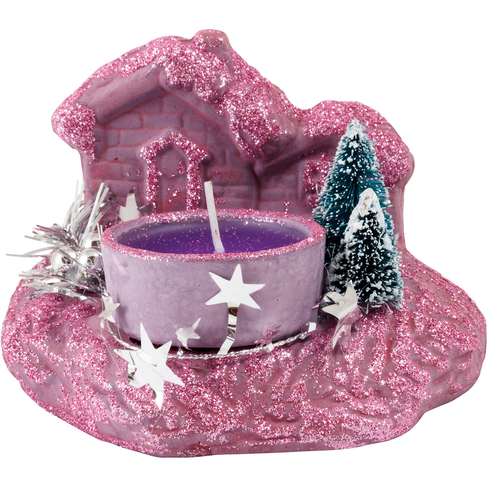 Свеча «Зимняя деревня» с подставкой