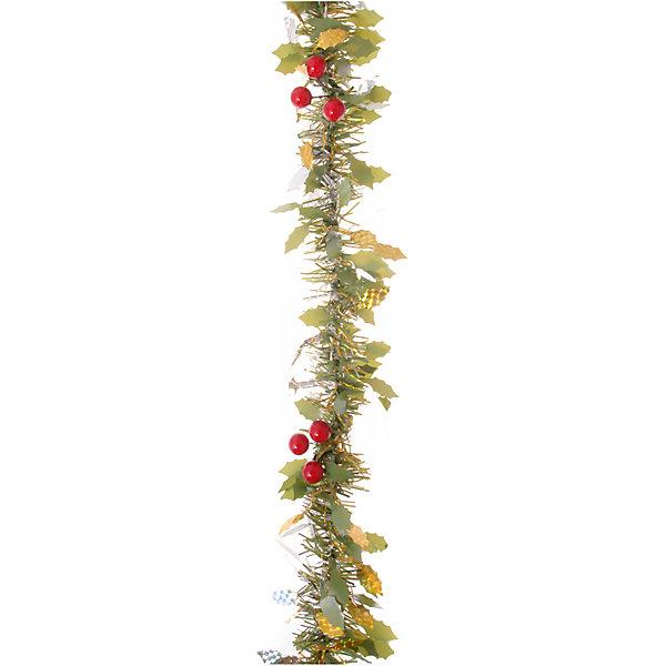Зеленая с золотым мишура 2,7 мНовогодняя мишура и бусы<br>Зеленая с золотым мишура, Волшебная страна, станет замечательным украшением Вашей новогодней елки или интерьера и поможет создать праздничную волшебную атмосферу. Мишура состоит из четырех слоев, выполнена в красивых зеленых и золотистых цветах и декорирована листиками и ягодками. Она будет чудесно смотреться на елке и радовать детей и взрослых. <br><br>Дополнительная информация:<br><br>- Цвет: зеленый+золото.<br>- Материал: лавсан.<br>- Размер мишуры: 10 см. х 2,7 м.<br>- Вес: 93 гр. <br><br>Зеленую с золотым мишуру, Волшебная страна, можно купить в нашем интернет-магазине.<br><br>Ширина мм: 2700<br>Глубина мм: 100<br>Высота мм: 100<br>Вес г: 82<br>Возраст от месяцев: 36<br>Возраст до месяцев: 2147483647<br>Пол: Унисекс<br>Возраст: Детский<br>SKU: 4288631