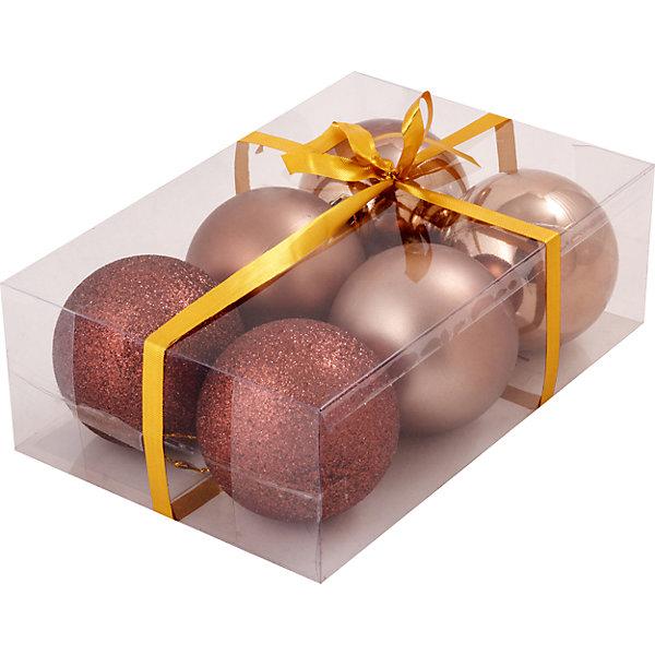 Медные шары (6 шт)Ёлочные игрушки<br>Набор медных шаров, Волшебная страна, станет замечательным украшением для Вашей новогодней елки и поможет создать праздничную волшебную атмосферу. В комплекте шесть шаров красивого медного оттенка с разными поверхностями (матовые, глянцевые и блестящие), они будут чудесно смотреться на елке и радовать детей и взрослых. ПВХ-упаковка. <br><br>Дополнительная информация:<br><br>- Цвет: медный.<br>- В комплекте: 6 шт. (2 глянцевых, 2 матовых, 2 блестящих).<br>- Диаметр шара: 8 см.<br>- Размер упаковки: 23 x 8 x 16 см.<br>- Вес: 206 гр.<br><br>Медные шары (6 шт.), Волшебная страна, можно купить в нашем интернет-магазине.<br>Ширина мм: 230; Глубина мм: 80; Высота мм: 160; Вес г: 206; Возраст от месяцев: 36; Возраст до месяцев: 2147483647; Пол: Унисекс; Возраст: Детский; SKU: 4288655;