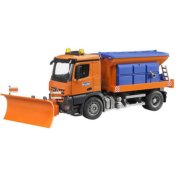 Снегоуборочная машина MB Arocs, BruderИдеи подарков<br>Снегоуборочная машина MB Arocs (МБ Арокс), Bruder (Брудер) может разгребать снег при помощи установленного впереди снегоуборочного отвала и посыпать улицу песком, если предварительно добавить песок в кузов. При движении снегоуборочной машины песок будет медленно рассыпаться тонкой струйкой во всю ширину кузова из рассыпающего устройства. <br><br>Характеристики:<br>-Масштаб 1:16<br>-Развивает: коммуникабельность, творческое мышление, зрительное восприятие, причинно-следственные связи, любознательность<br>-Рассыпающее устройство и лестница опускается/поднимается<br>-Кабина автомобиля откидывается вперед, открывая доступ к двигателю<br>-Прорезиненные колеса <br>-Световой и звуковой модуль (приобретаются отдельно)<br>-Передний отвал регулируется в нескольких положениях: вверх/вниз, вправо/влево<br>-Можно играть как зимой со снегом, так и летом в песочнице<br><br>Дополнительная информация:<br>-Размер в упаковке: 66х20х25 см<br>-Вес в упаковке: 3 кг<br>-Материалы: пластмасса, металл, резина<br>-Размеры машинки: 47х16х19,5 см<br><br>Снегоуборочная машина MB Arocs (МБ Арокс) несомненно украсит коллекцию автомобилей ребенка и послужит отличным подарком!<br><br>Снегоуборочную машину MB Arocs (МБ Арокс), Bruder (Брудер) можно купить в нашем магазине.<br><br>Ширина мм: 660<br>Глубина мм: 200<br>Высота мм: 250<br>Вес г: 3040<br>Возраст от месяцев: 36<br>Возраст до месяцев: 84<br>Пол: Мужской<br>Возраст: Детский<br>SKU: 4288936