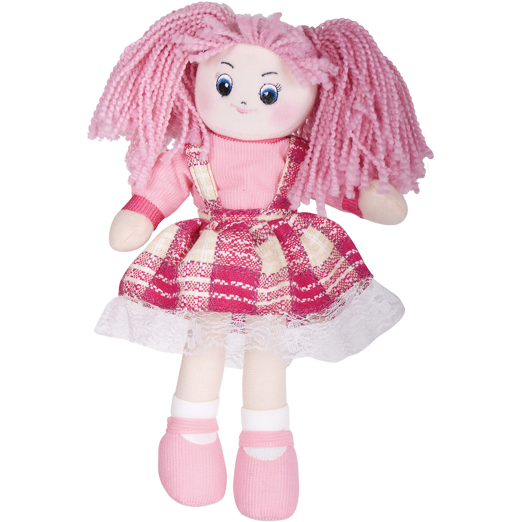 Кукла Клубничка, 30см, GulliverМягкие куклы<br>Кукла Клубничка, 30см, Gulliver (Гулливер) в модном клетчатом платье с оборкой отличается мягкими ручками и ножками, полностью подвижными, поэтому куклу можно сажать на поверхность со спинкой, например, в игрушечную коляску. Вышитые нитками глаза, брови, нос и губы очень яркие на плюшевом, нежном лице. Кукла Клубничка достигает в высоту 30 сантиметров, поэтому ее комфортно брать с собой, носить на руках и играть в любом месте.<br><br>Дополнительная информация:<br>-Размер в упаковке: 30х10х7 см<br>-Вес в упаковке: 141 г<br>-Материалы: текстиль, синтепон<br>-Длина куклы: 30 см<br>-Развивает: воображение, тактильную чувствительность, речь, мелкую моторику<br><br>Яркая мягкая Кукла Клубничка, 30см, Gulliver (Гулливер) станет любимой игрушкой и подружкой любой малышке!<br><br>Кукла Клубничка, 30см, Gulliver (Гулливер) можно купить в нашем магазине.<br><br>Ширина мм: 300<br>Глубина мм: 102<br>Высота мм: 70<br>Вес г: 141<br>Возраст от месяцев: 36<br>Возраст до месяцев: 84<br>Пол: Женский<br>Возраст: Детский<br>SKU: 4288937