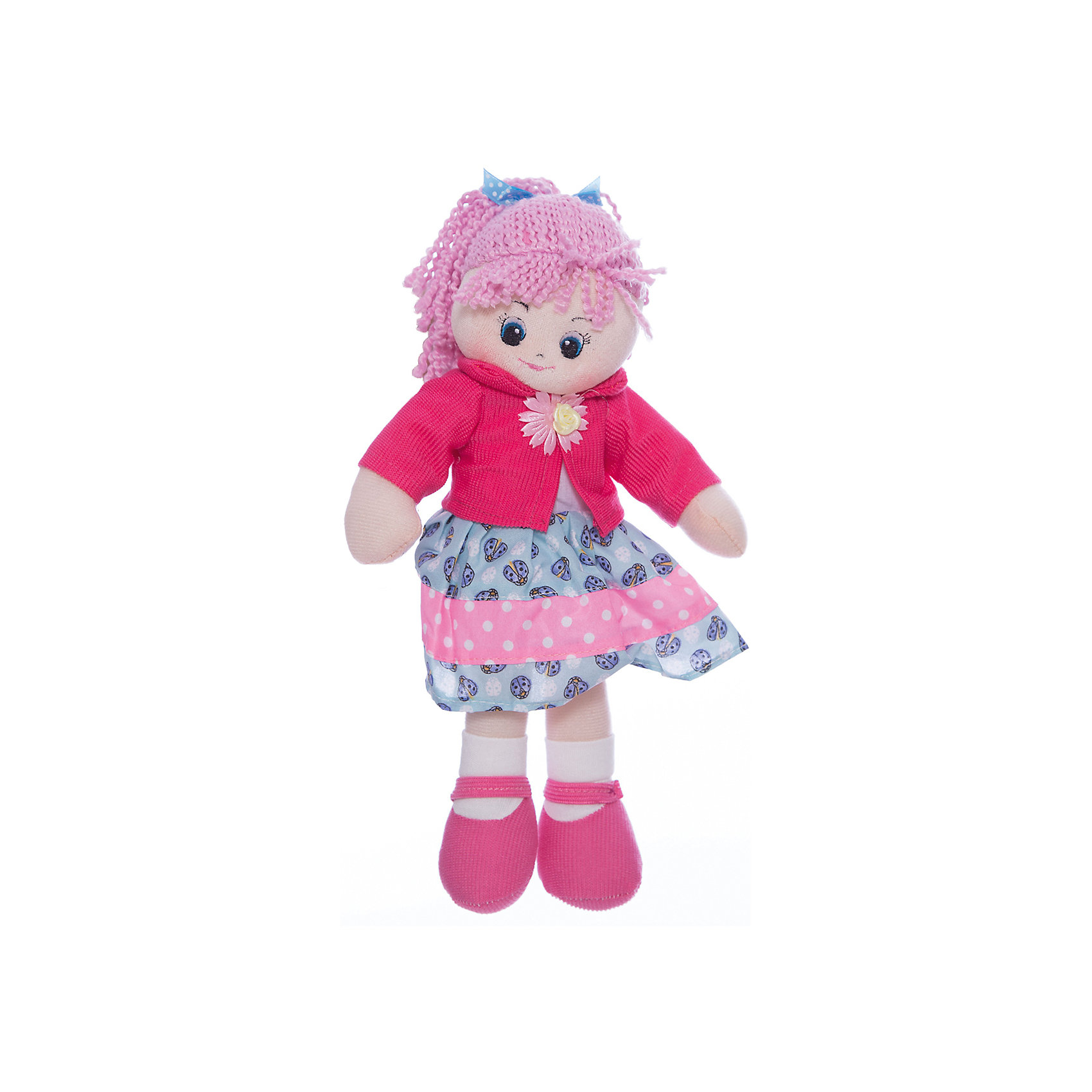 Кукла Земляничка, 30 см, GulliverМягкие куклы<br>Милая Кукла Земляничка, 30 см, Gulliver (Гулливер) с розовыми волосами с двумя косичками и в замечательном наряде отлично подходит для катания в кукольных колясках и станет прекрасным подарком для любой девочки! Кукла Земляничка достигает в высоту 30 сантиметров, поэтому ее комфортно брать с собой, носить на руках и играть в любом месте.<br><br>Дополнительная информация:<br>-Размер в упаковке: 18х17х30 см<br>-Вес в упаковке: 141 г<br>-Материалы: текстиль, синтепон<br>-Длина куклы: 30 см<br>-Развивает: воображение, тактильную чувствительность, речь, мелкую моторику<br><br>Кукла  Земляничка украсит детскую комнату и станет радовать малышку каждый день!<br><br>Куклу Земляничку, 30 см, Gulliver (Гулливер) можно купить в нашем магазине.<br><br>Ширина мм: 180<br>Глубина мм: 170<br>Высота мм: 300<br>Вес г: 141<br>Возраст от месяцев: 36<br>Возраст до месяцев: 84<br>Пол: Женский<br>Возраст: Детский<br>SKU: 4288938