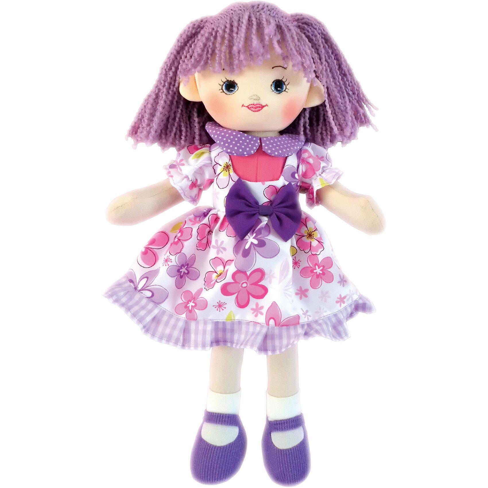 Кукла Ягодка, 30 см, GulliverМягкие куклы<br>Кукла Ягодка, 30 см, Gulliver (Гулливер) с сиреневыми волосами в летнем платьице с бантиком на поясе отлично подходит для катания в кукольных колясках и станет прекрасным подарком для любой девочки! Кукла Ягодка достигает в высоту 30 сантиметров, поэтому ее комфортно брать с собой, носить на руках и играть в любом месте.<br><br>Дополнительная информация:<br>-Размер в упаковке: 18х17х30 см<br>-Вес в упаковке: 141 г<br>-Материалы: текстиль, синтепон<br>-Длина куклы: 30 см<br>-Развивает: воображение, тактильную чувствительность, речь, мелкую моторику<br><br>Куклу Ягодку, 30 см, Gulliver (Гулливер) можно купить в нашем магазине.<br><br>Ширина мм: 180<br>Глубина мм: 170<br>Высота мм: 300<br>Вес г: 141<br>Возраст от месяцев: 36<br>Возраст до месяцев: 84<br>Пол: Женский<br>Возраст: Детский<br>SKU: 4288939