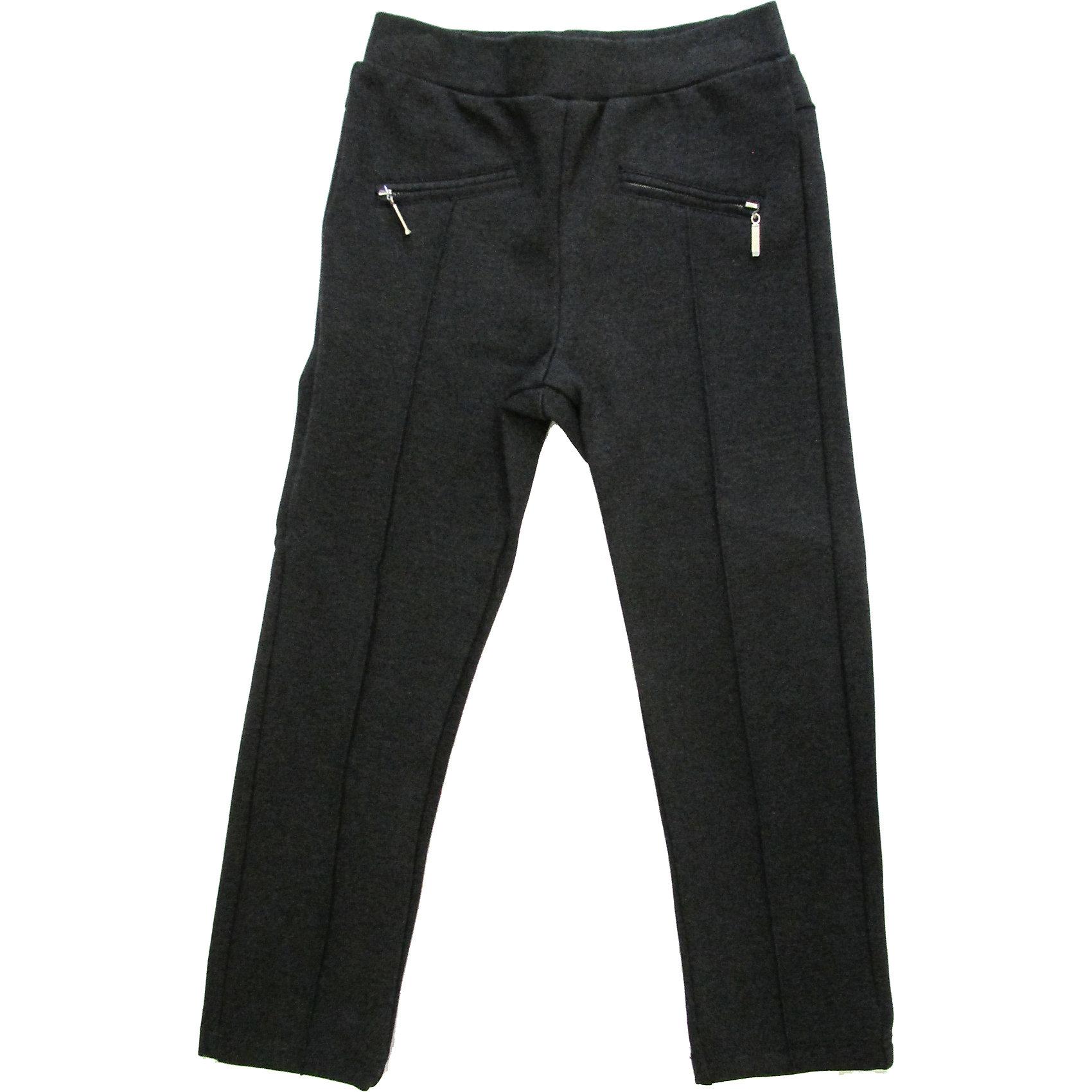 Брюки для девочки Sweet BerryБрюки<br>Стильные трикотажные брюки с застроченными спереди стрелками. На эластичном поясе с резинкой. Брюки украшены иммитацией карманов в рамку с молнией. <br>Состав: <br>95% хлопок, 5% эластан<br><br>Ширина мм: 215<br>Глубина мм: 88<br>Высота мм: 191<br>Вес г: 336<br>Цвет: серый<br>Возраст от месяцев: 24<br>Возраст до месяцев: 36<br>Пол: Женский<br>Возраст: Детский<br>Размер: 122,98,104,128,116,110<br>SKU: 4291396