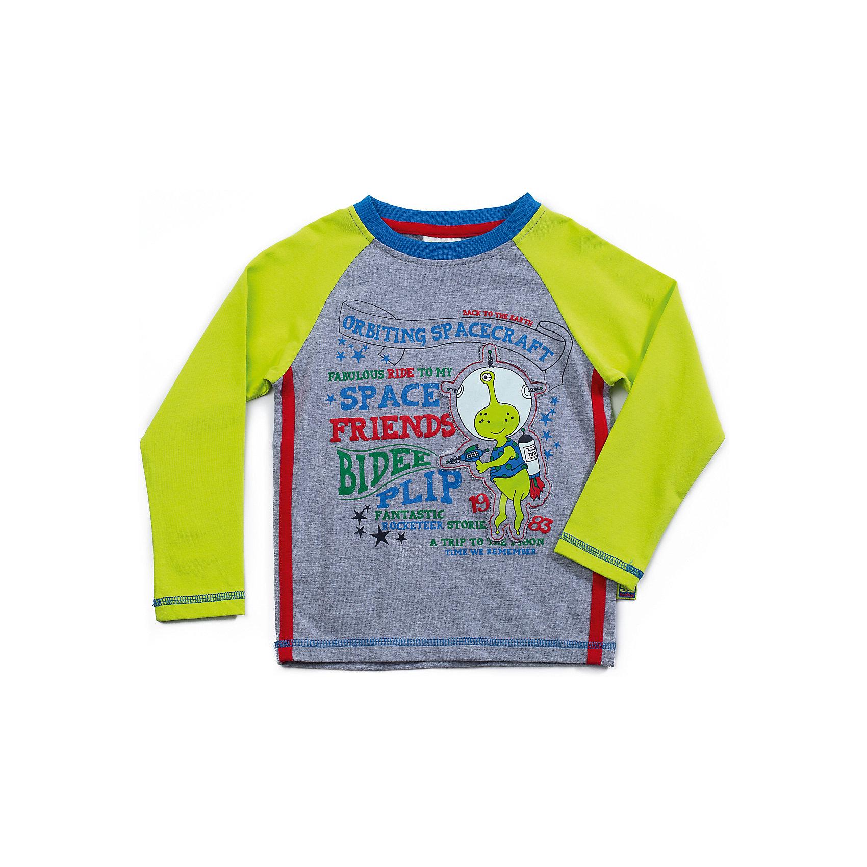Футболка с длинным рукавом для мальчика Sweet BerryФутболки с длинным рукавом<br>Яркая футболка с длинным рукавом для мальчика. Горловина из трикотажной эластичной резинки контрастного цвета. Футболка декорированна весёлым, ярким принтом, контрастными отделочными строчками и трикотажными полосками. <br>Состав: <br>95% хлопок, 5% эластан<br><br>Ширина мм: 230<br>Глубина мм: 40<br>Высота мм: 220<br>Вес г: 250<br>Цвет: grau/gr?n<br>Возраст от месяцев: 12<br>Возраст до месяцев: 18<br>Пол: Мужской<br>Возраст: Детский<br>Размер: 86,80,98,92<br>SKU: 4291464
