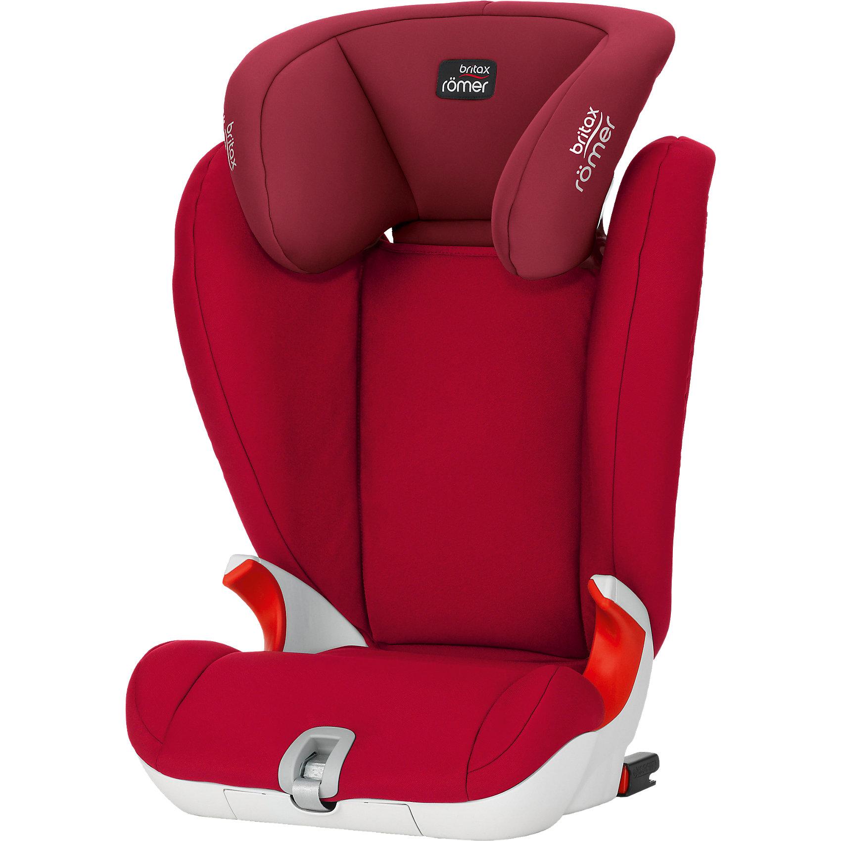 Автокресло Britax Romer KIDFIX SL 15-36 кг, Flame RedГруппа 2-3 (От 15 до 36 кг)<br>Автокресло KIDFIX SL 15-36 кг., Britax R?mer, Flame Red.<br><br>Характеристики:<br><br>- Группа 2-3 для детей от 4 до 12, весом от 15 до 36 кг.<br>- Цвет: красный<br>- Размер автокресла: 66-85х49х45 см.<br>- Вес: 6,4 кг.<br><br>Детское автокресло Romer Kidfix SL отличается максимальным удобством, функциональностью и практичностью. Благодаря углубленной чаше сидения и оптимально выдвинутым вперед высоким и мягким боковинам подголовника, полностью охватывающим плечевой отдел, оно обеспечивает максимальную защиту маленького пассажира в случае столкновения или крутого маневра. Автокресло имеет удобную V-образную спинку, плавно подгоняющуюся под наклон сиденья автомобиля. Автокресло «растет» вместе с вашим малышом. Глубокий удобный подголовник регулируется в 11-ти положениях. Автокресло устанавливается лицом по направлению движения автомобиля и крепится с помощью запатентованной системы Isofit на ремнях Soft Latch. Soft Latch (SL) — это гибкие ремни вместо традиционных жестких скоб. Такая система обеспечивает прямое соединение с точками Isofix автомобиля и позволяет самостоятельно подобрать жесткость крепления. Ребенок в кресле пристегивается штатным ремнем автомобиля, для которого предусмотрены специальные направляющие, обеспечивающие правильное положение ремня безопасности. Допускается и упрощенное, традиционное крепление кресла штатным ремнем автомобиля вместе с ребенком. Необходимость этого может возникнуть при временной или вынужденной перестановке в автомобиль, не оборудованный скобами Isofix. Еще одним немаловажным преимуществом является мобильность конструкции. Автокресло Kidfix SL не только быстро и надежно устанавливается на сидении автомобиля, но и легко складывается для компактного хранения в багажнике автомобиля. Кресло выполнено из высококачественного экологически безопасного ABC-пластика, оснащено съемным чехлом из мягкой износостойкой ткани, обладающей отличной воздухопроп