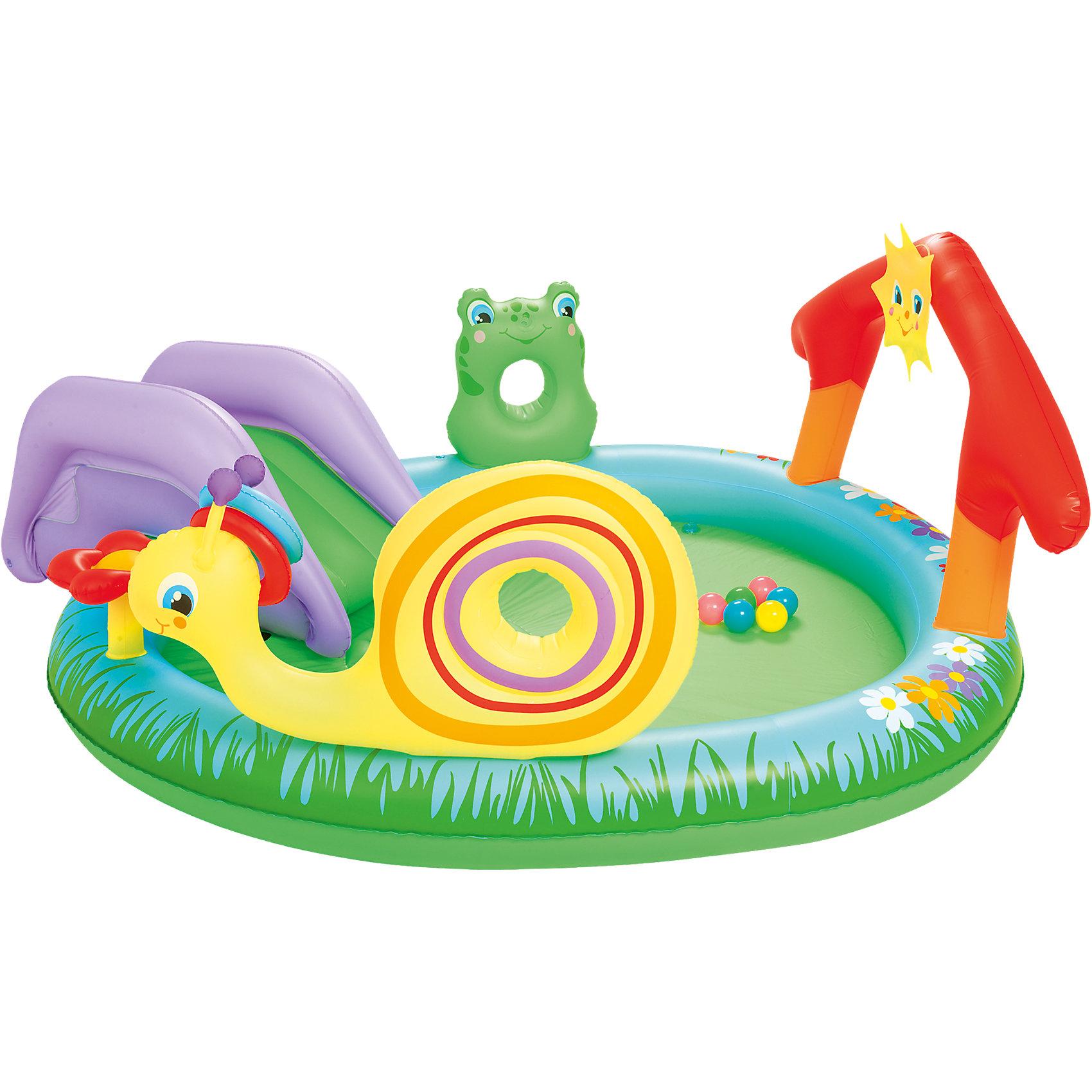 Игровой бассейн с брызгалкой и принадлежностями для игр, BestwayБассейны<br>Игровой бассейн, Bestway, со множеством игровых возможностей - это отличное детское развлечение в жаркие летние дни. Надувной бассейн изготовлен из прочного материала ПВХ, который способен выдерживать большие нагрузки и вмещает в себя сразу несколько детей. Помимо плескания в воде, ребенок найдет здесь разнообразные веселые развлечения - съемную надувную горку с перилами, с которой можно скатываться прямо в воду и брызгалку в виде зеленой лягушки, которая подключается к садовому шлангу. К бортику крепятся забавные надувные игрушки - яркая улитка с домиком-ракушкой, цветочек и красочные ворота с солнышком. В комплект также входят небольшие мячики. Бассейн легко надувается при помощи насоса (в комплект не входит!). Рассчитан на детей от 2 лет.<br><br>Дополнительная информация:<br><br>- В комплекте: бассейн, съемная горка, надувные аксессуары (игрушки, шарики).<br>- Материал: ПВХ.<br>- Объем: 144 л.<br>- Размер бассейна: 211 x 155 x 81 см.<br>- Размер упаковки: 40,8 х 39,9 х 11,1 см.<br>- Вес: 3,275 кг. <br><br>Игровой бассейн с брызгалкой и принадлежностями для игр, Bestway, можно купить в нашем интернет-магазине.<br><br>Ширина мм: 402<br>Глубина мм: 403<br>Высота мм: 112<br>Вес г: 3278<br>Возраст от месяцев: 24<br>Возраст до месяцев: 60<br>Пол: Унисекс<br>Возраст: Детский<br>SKU: 4292333