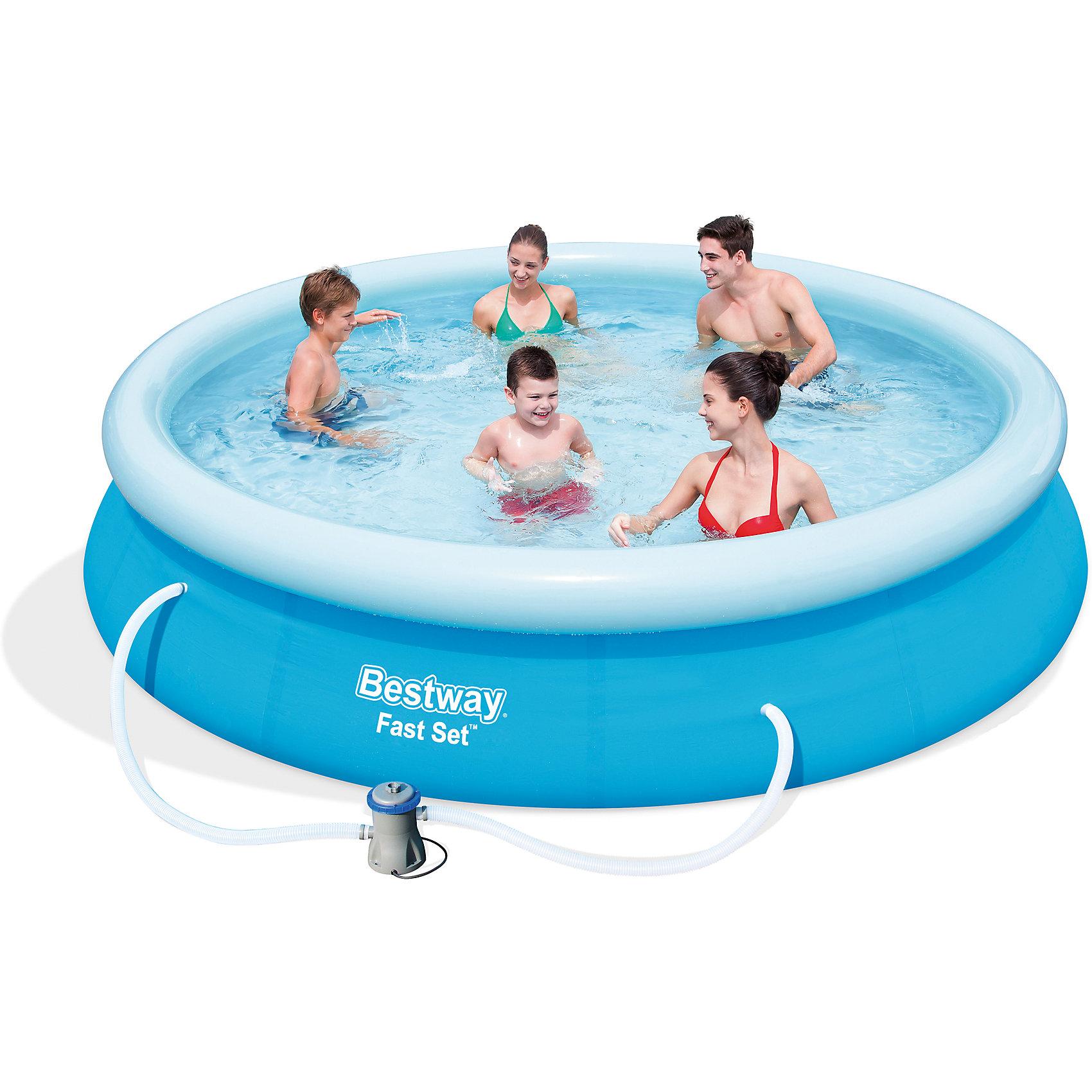Бассейн с надувным бортом 5377 л, с фильтр-насосом, BestwayБассейн с надувным бортом, Bestway, станет замечательным развлечением для Ваших детей в жаркие летние дни. Надувной бассейн изготовлен из прочного винилового материала, который способен выдерживать большие нагрузки. Высокий бортик поддерживается надувным кольцом по верхнему краю, он удерживает объем воды бассейна от выливания. Бассейн легко и быстро собирается и устанавливается. В комплект также входит насос-фильтр и  DVD диск с подробной инструкцией.<br><br>Дополнительная информация:<br><br>- В комплекте: бассейн, насос-фильтр для очистки воды, DVD диск с инструкцией.<br>- Материал: винил, пластик, металл.<br>- Объем: 5377 л.<br>- Размер: 366 х 76 см.<br>- Размер упаковки: 61 x 31 x 31 см.<br>- Вес: 16,1 кг. <br><br>Бассейн с надувным бортом 5377 л. и фильтр-насосом, Bestway, можно купить в нашем интернет-магазине.<br><br>Ширина мм: 610<br>Глубина мм: 310<br>Высота мм: 310<br>Вес г: 16100<br>Возраст от месяцев: 36<br>Возраст до месяцев: 2147483647<br>Пол: Унисекс<br>Возраст: Детский<br>SKU: 4292347