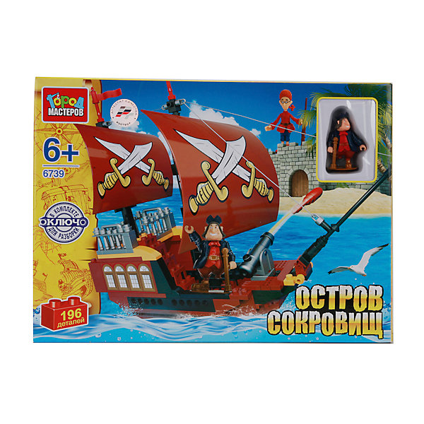 Конструктор Остров сокровищ, Играем вместеПластмассовые конструкторы<br>Из этого замечательного конструктора ваш ребенок сможет построить настоящий пиратский корабль. Скорее запрыгивай на борт и вперед! За сокровищами. Будь осторожен, завистливые пираты подстерегают на каждом шагу! Конструктор выполнен из высококачественного пластика, имеет прочные крепления, сочетается с другими конструкторами серии. Конструирование не только увлекательное занятие, оно прекрасно развивает мелкую моторику, мышление, внимание и творческие способности ребенка. <br><br>Дополнительная информация:<br><br>- Материал: пластик.<br>- Количество мини-фигурок: 2 (Джим и Сильвер).<br>- Комплектация: 2 мини-фигурки, детали конструктора, из которых собирается пиратский корабль и фрагмент крепости. <br>- Количество деталей: 196.<br>- Размер упаковки: 7 x 33 х 24 см.<br>- Вес: 0,6 кг. <br><br>Конструктор Остров сокровищ, Играем вместе, можно купить в нашем магазине.<br>Ширина мм: 590; Глубина мм: 350; Высота мм: 500; Вес г: 980; Возраст от месяцев: 36; Возраст до месяцев: 72; Пол: Мужской; Возраст: Детский; SKU: 4292374;