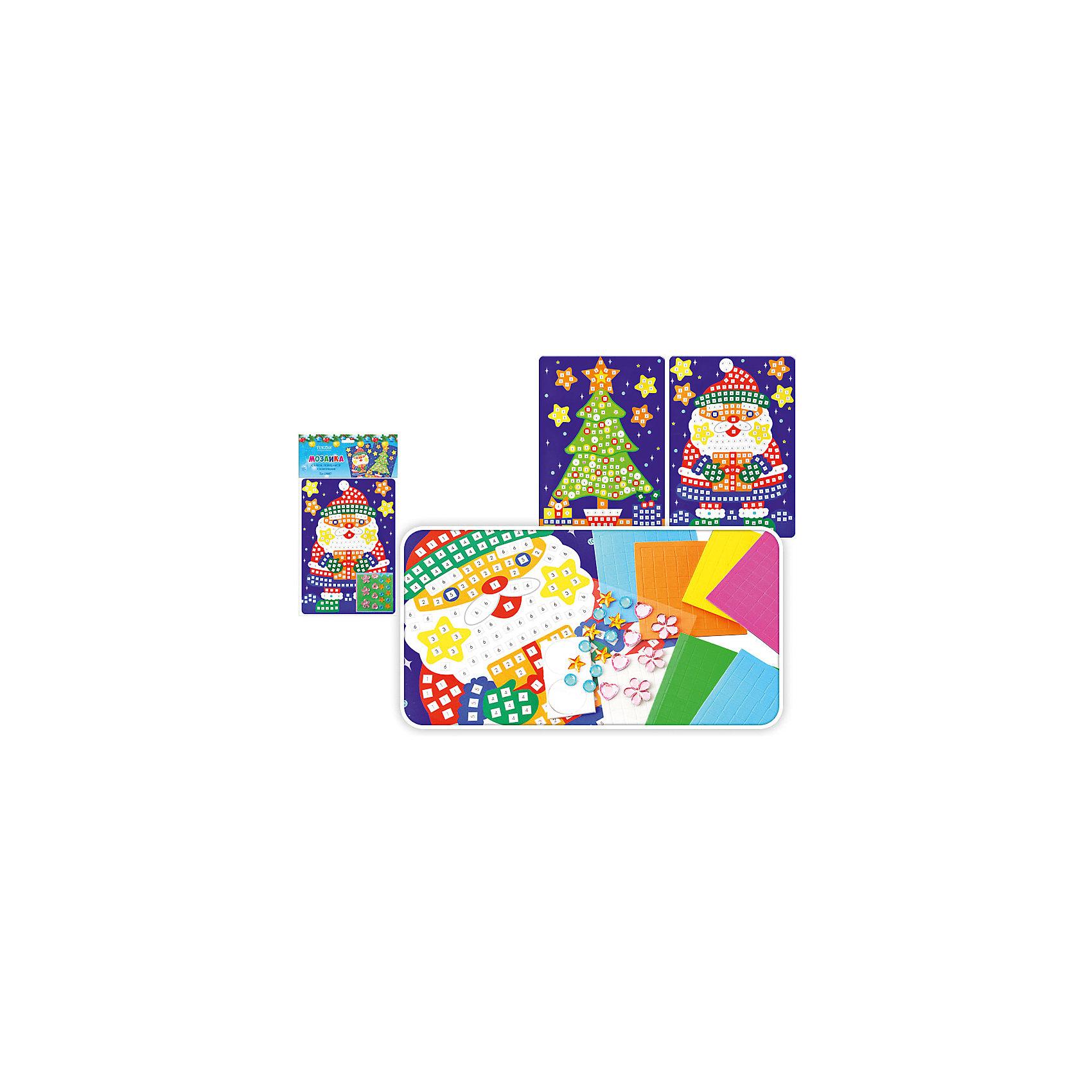 Самоклеящаяся мозайка 24*17 см, в ассортиментеСамоклеющаяся мозаика с новогодней тематикой обязательно понравится детям. Наклеивая разноцветные квадратики, малыш разовьет цветовосприятие, мелкую моторику и усидчивость. Яркая картинка станет прекрасным подарком, сделанным своими руками. <br><br>Дополнительная информация:<br><br>- Размер: 24х17 см.<br>- Материал: бумага, картон.<br>- 2 вида в ассортименте. <br>ВНИМАНИЕ! Данный артикул представлен в разных вариантах исполнения. К сожалению, заранее выбрать определенный вариант невозможно. При заказе нескольких наборов наклеек возможно получение одинаковых.<br><br>Самоклеющуюся мозаику 24х17 см, в ассортименте, можно купить в нашем магазине.<br><br>Ширина мм: 240<br>Глубина мм: 170<br>Высота мм: 20<br>Вес г: 100<br>Возраст от месяцев: 36<br>Возраст до месяцев: 2147483647<br>Пол: Унисекс<br>Возраст: Детский<br>SKU: 4293032