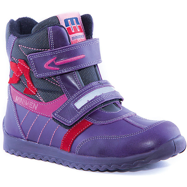 Ботинки для девочки MinimenБотинки<br>Полусапоги для девочки от известного бренда Minimen<br><br>Модные утепленные полусапоги Minimen созданы для ношения в межсезонье и начинающиеся холода. Их форма тщательно проработана, поэтому детским ножкам в такой обуви тепло и комфортно. Качественные материалы позволяют сделать изделия износостойкими и удобными.<br><br>Отличительные особенности модели:<br><br>- цвет: сиреневый;<br>- гибкая нескользящая подошва;<br>- усиленный носок и задник;<br>- эргономичная форма;<br>- удобная колодка;<br>- яркие элементы;<br>- флисовая подкладка;<br>- натуральная кожа;<br>- застежки-липучки.<br><br>Дополнительная информация:<br><br>- Температурный режим: от - 15° С  до +10° С.<br><br>- Состав:<br><br>материал верха: 100% натуральная кожа<br>материал подкладки: текстиль<br>подошва: ТЭП<br><br>Полусапоги для девочки Minimen (Минимен) можно купить в нашем магазине.<br>Ширина мм: 257; Глубина мм: 180; Высота мм: 130; Вес г: 420; Цвет: лиловый; Возраст от месяцев: 60; Возраст до месяцев: 72; Пол: Женский; Возраст: Детский; Размер: 29,27,25,26,28,30,34,35,36,33,32,31; SKU: 4295695;