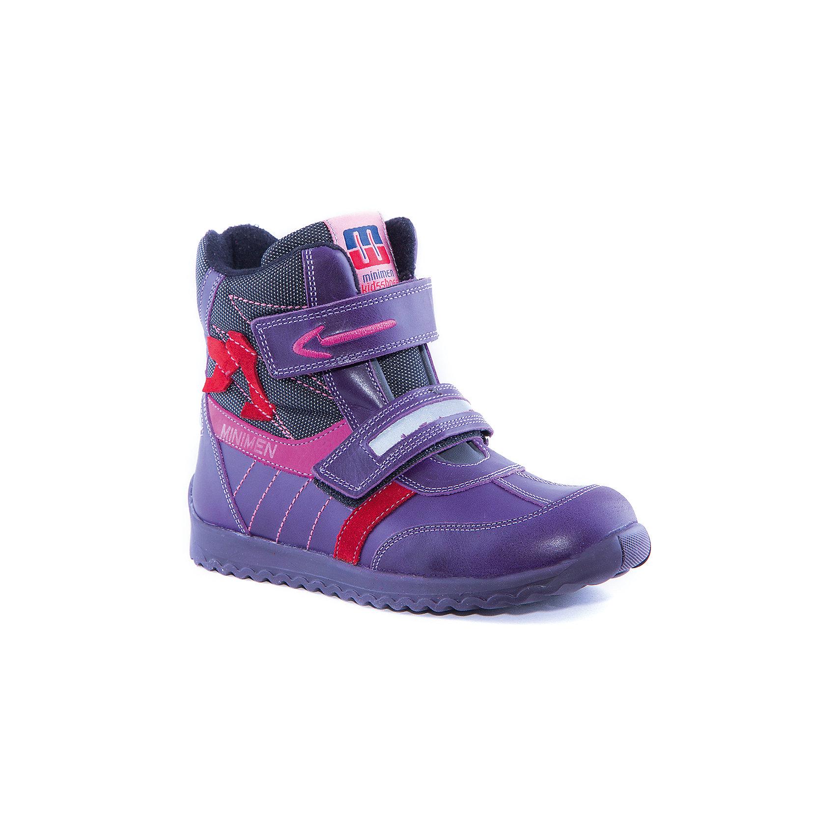 Ботинки для девочки MinimenБотинки<br>Полусапоги для девочки от известного бренда Minimen<br><br>Модные утепленные полусапоги Minimen созданы для ношения в межсезонье и начинающиеся холода. Их форма тщательно проработана, поэтому детским ножкам в такой обуви тепло и комфортно. Качественные материалы позволяют сделать изделия износостойкими и удобными.<br><br>Отличительные особенности модели:<br><br>- цвет: сиреневый;<br>- гибкая нескользящая подошва;<br>- усиленный носок и задник;<br>- эргономичная форма;<br>- удобная колодка;<br>- яркие элементы;<br>- флисовая подкладка;<br>- натуральная кожа;<br>- застежки-липучки.<br><br>Дополнительная информация:<br><br>- Температурный режим: от - 15° С  до +10° С.<br><br>- Состав:<br><br>материал верха: 100% натуральная кожа<br>материал подкладки: текстиль<br>подошва: ТЭП<br><br>Полусапоги для девочки Minimen (Минимен) можно купить в нашем магазине.<br><br>Ширина мм: 257<br>Глубина мм: 180<br>Высота мм: 130<br>Вес г: 420<br>Цвет: фиолетовый<br>Возраст от месяцев: 24<br>Возраст до месяцев: 36<br>Пол: Женский<br>Возраст: Детский<br>Размер: 30,28,29,25,27,31,32,33,36,35,34,26<br>SKU: 4295695