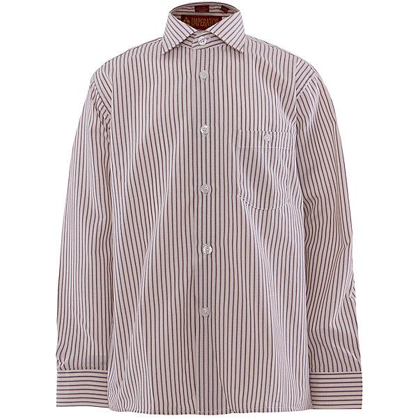 Рубашка для мальчика ImperatorОдежда<br>Рубашка для мальчика от российской марки Imperator <br><br>Нарядная рубашка в полоску отлично подойдет и для школьных будней и для праздничных мероприятий. Модель хорошо сидит, не стесняет движения. Материал - гипоаллергенный, дышащий и приятный на ощупь.<br><br>Особенности модели:<br><br>- материал - тонкий, с содержанием хлопка;<br>- цвет - белый, в полоску;<br>- карман на груди с пуговицей;<br>- застежки-пуговицы;<br>- отложной воротник и манжеты;<br>- пуговицы на манжетах.<br><br>Дополнительная информация:<br><br>Состав: 65% хлопок, 35% полиэстер<br><br>Габариты:<br><br>длина рукава - 57 см;<br>длина по спинке - 68 см.<br><br>* соответствует размеру 35/158-164<br><br>Уход за изделием:<br><br>стирка в машине при температуре до 40°С,<br>не отбеливать,<br>гладить на средней температуре.<br><br>Рубашку для мальчика от российской марки Imperator (Император) можно купить в нашем магазине.<br>Ширина мм: 174; Глубина мм: 10; Высота мм: 169; Вес г: 157; Цвет: коричневый; Возраст от месяцев: 156; Возраст до месяцев: 168; Пол: Мужской; Возраст: Детский; Размер: 158/164,122/128,128/134,134/140,140/146,146/152,152/158,164/170; SKU: 4295799;