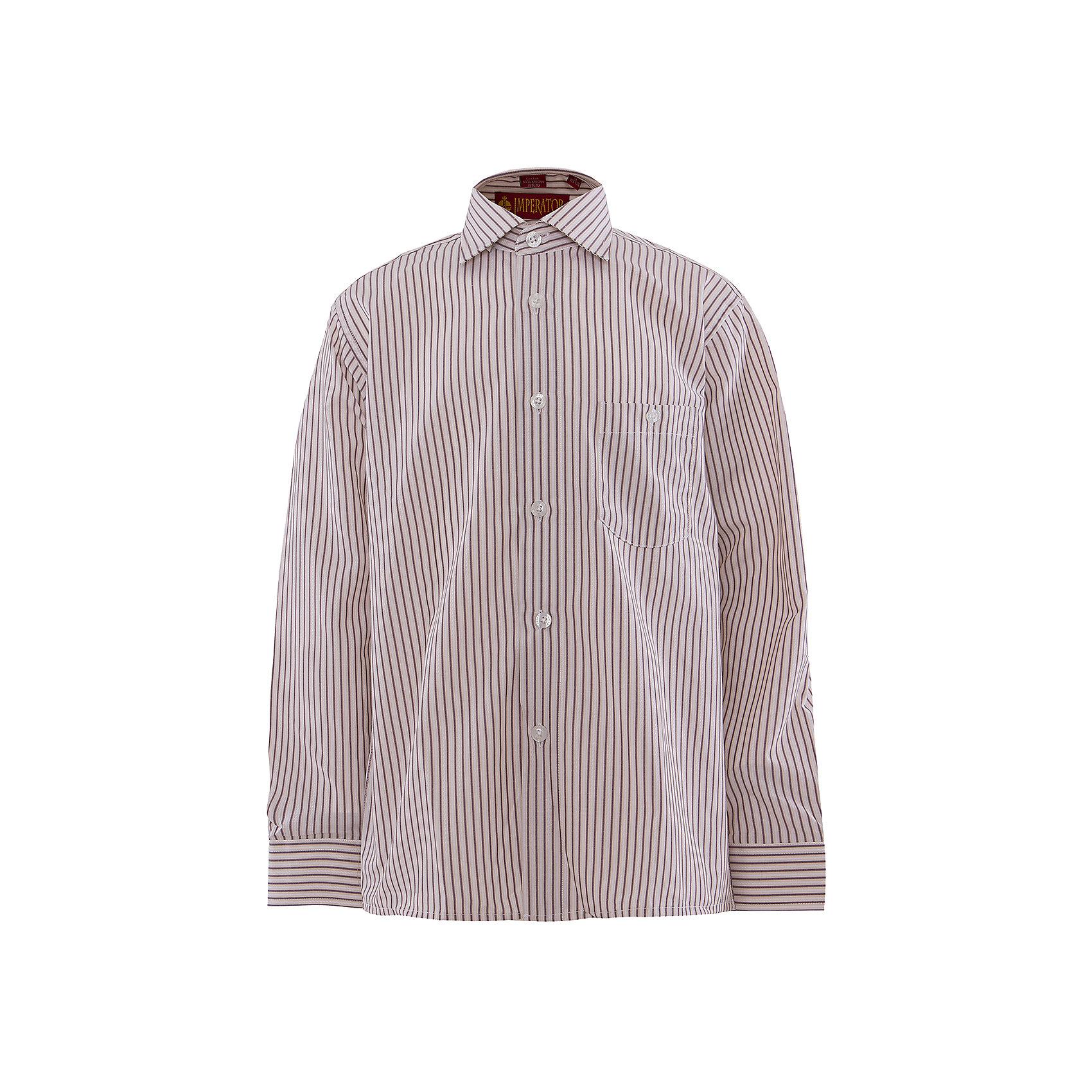 Рубашка для мальчика ImperatorБлузки и рубашки<br>Рубашка для мальчика от российской марки Imperator <br><br>Нарядная рубашка в полоску отлично подойдет и для школьных будней и для праздничных мероприятий. Модель хорошо сидит, не стесняет движения. Материал - гипоаллергенный, дышащий и приятный на ощупь.<br><br>Особенности модели:<br><br>- материал - тонкий, с содержанием хлопка;<br>- цвет - белый, в полоску;<br>- карман на груди с пуговицей;<br>- застежки-пуговицы;<br>- отложной воротник и манжеты;<br>- пуговицы на манжетах.<br><br>Дополнительная информация:<br><br>Состав: 65% хлопок, 35% полиэстер<br><br>Габариты:<br><br>длина рукава - 57 см;<br>длина по спинке - 68 см.<br><br>* соответствует размеру 35/158-164<br><br>Уход за изделием:<br><br>стирка в машине при температуре до 40°С,<br>не отбеливать,<br>гладить на средней температуре.<br><br>Рубашку для мальчика от российской марки Imperator (Император) можно купить в нашем магазине.<br><br>Ширина мм: 174<br>Глубина мм: 10<br>Высота мм: 169<br>Вес г: 157<br>Цвет: коричневый<br>Возраст от месяцев: 96<br>Возраст до месяцев: 108<br>Пол: Мужской<br>Возраст: Детский<br>Размер: 128/134,122/128,164/170,158/164,152/158,146/152,140/146,134/140<br>SKU: 4295799