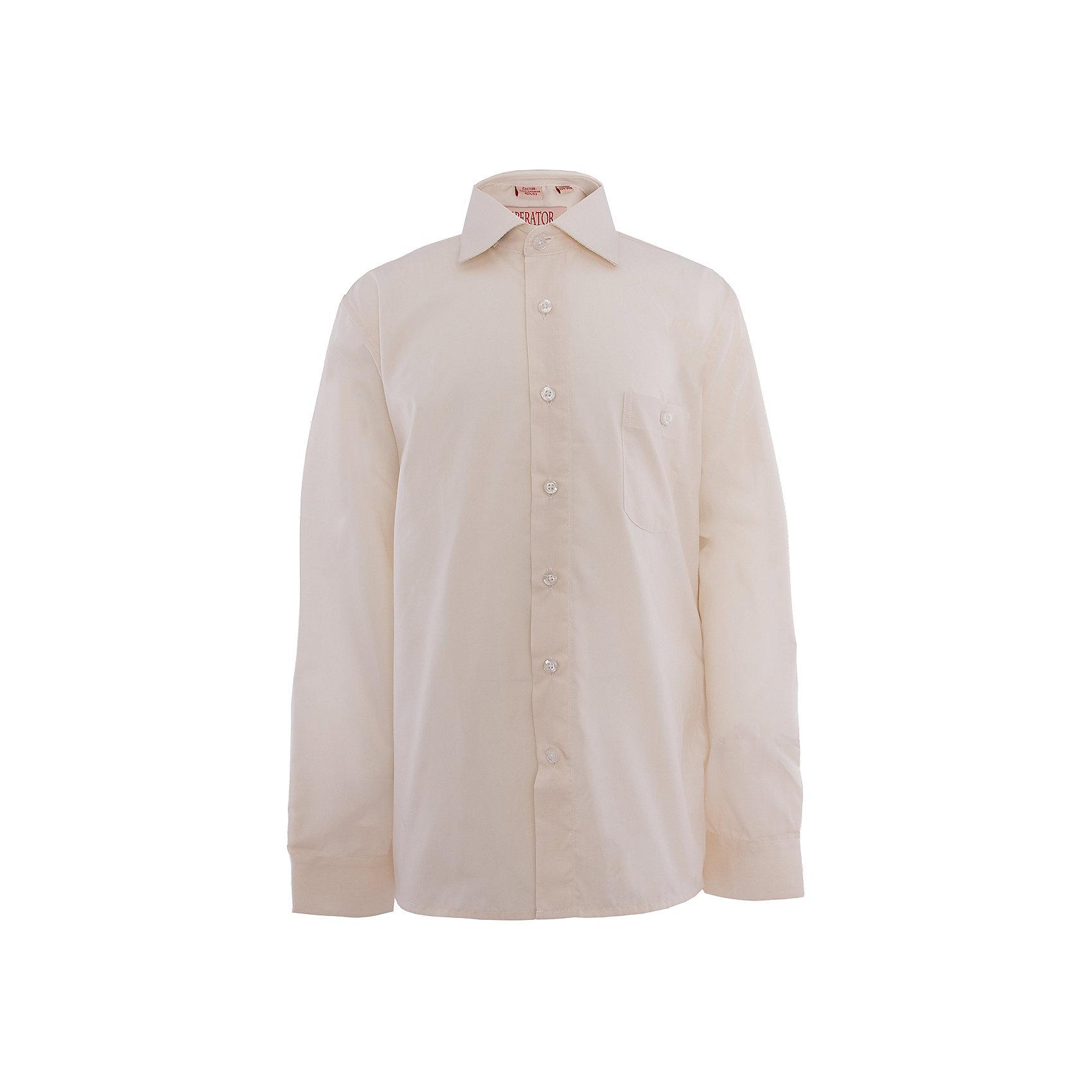 Рубашка для мальчика ImperatorБлузки и рубашки<br>Рубашка для мальчика от российской марки Imperator <br><br>Элегантная светлая рубашка дополнит гардероб мальчишек школьного возраста. Модель эффектно смотрится, делает образ стильным. Материал - гипоаллергенный, дышащий и приятный на ощупь.<br><br>Особенности модели:<br><br>- материал - тонкий, с содержанием хлопка;<br>- цвет - молочный;<br>- карман на груди;<br>- застежки-пуговицы;<br>- отложной воротник;<br>- пуговицы на манжетах.<br><br>Дополнительная информация:<br><br>Состав: 55% хлопок, 45% полиэстер<br><br>Габариты:<br><br>длина рукава - 57 см;<br>длина по спинке - 67 см.<br><br>* соответствует размеру 35/158-164<br><br>Уход за изделием:<br><br>стирка в машине при температуре до 40°С,<br>не отбеливать,<br>гладить на средней температуре.<br><br>Рубашку для мальчика от российской марки Imperator (Император) можно купить в нашем магазине.<br><br>Ширина мм: 174<br>Глубина мм: 10<br>Высота мм: 169<br>Вес г: 157<br>Цвет: бежевый<br>Возраст от месяцев: 132<br>Возраст до месяцев: 144<br>Пол: Мужской<br>Возраст: Детский<br>Размер: 146/152,164/170,128/134,152/158,158/164,122/128,140/146,134/140<br>SKU: 4295817