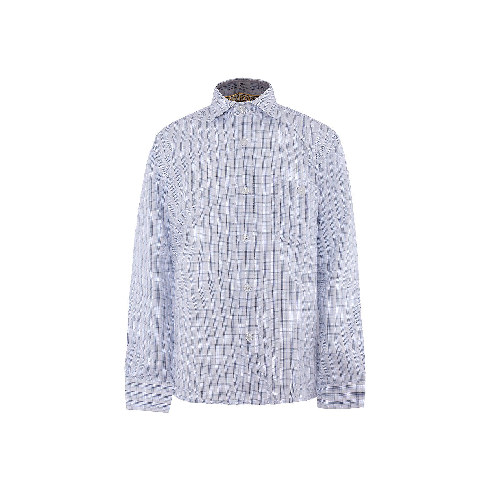 Рубашка для мальчика TsarevichБлузки и рубашки<br>Характеристики товара:<br><br>• цвет: голубой<br>• состав ткани: 65% хлопок, 35% полиэстер<br>• особенности: школьная, праздничная<br>• застежка: пуговицы<br>• рукава: длинные<br>• сезон: круглый год<br>• страна бренда: Российская Федерация<br>• страна изготовитель: Китай<br><br>Классическая сорочка для мальчика - отличный вариант практичной и стильной школьной одежды.<br><br>Классическая форма, накладной карман, воротник с отсрочкой, прямой низ, дышащая ткань с преобладанием хлопка - красиво и удобно.<br><br>Рубашку для мальчика Tsarevich (Царевич) можно купить в нашем интернет-магазине.<br><br>Ширина мм: 174<br>Глубина мм: 10<br>Высота мм: 169<br>Вес г: 157<br>Цвет: синий/белый<br>Возраст от месяцев: 132<br>Возраст до месяцев: 144<br>Пол: Мужской<br>Возраст: Детский<br>Размер: 146/152,128/134,164/170,152/158,140/146,134/140,122/128,158/164<br>SKU: 4295872