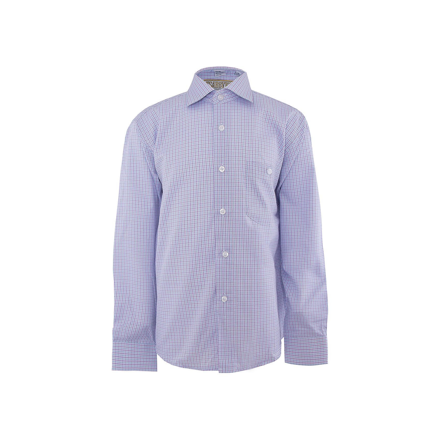 Рубашка для мальчика TsarevichБлузки и рубашки<br>Рубашка для мальчика от российской марки Tsarevich<br><br>Модная и удобная рубашка с длинным рукавом хорошо сидит, не стесняет движения. Материал - гипоаллергенный, дышащий и приятный на ощупь.<br><br>Особенности модели:<br><br>- материал - легкий, с содержанием хлопка;<br>- цвет - мелкая голубая клетка;<br>- карман на груди с пуговицей;<br>- рукав длинный;<br>- застежки-пуговицы;<br>- манжеты;<br>- отложной воротник;<br>- пуговицы на манжетах.<br><br>Дополнительная информация:<br><br>Состав: 65% хлопок, 35% полиэстер<br><br>Габариты:<br><br>длина рукава - 47 см;<br>длина по спинке - 56 см.<br><br>* соответствует размеру 30/128-134<br><br>Уход за изделием:<br><br>стирка в машине при температуре до 40°С,<br>не отбеливать,<br>гладить на средней температуре.<br><br>Рубашку для мальчика от российской марки Tsarevich (Царевич) можно купить в нашем магазине.<br><br>Ширина мм: 174<br>Глубина мм: 10<br>Высота мм: 169<br>Вес г: 157<br>Цвет: фиолетовый<br>Возраст от месяцев: 84<br>Возраст до месяцев: 96<br>Пол: Мужской<br>Возраст: Детский<br>Размер: 122/128,164/170,158/164,152/158,146/152,140/146,134/140,128/134<br>SKU: 4295890