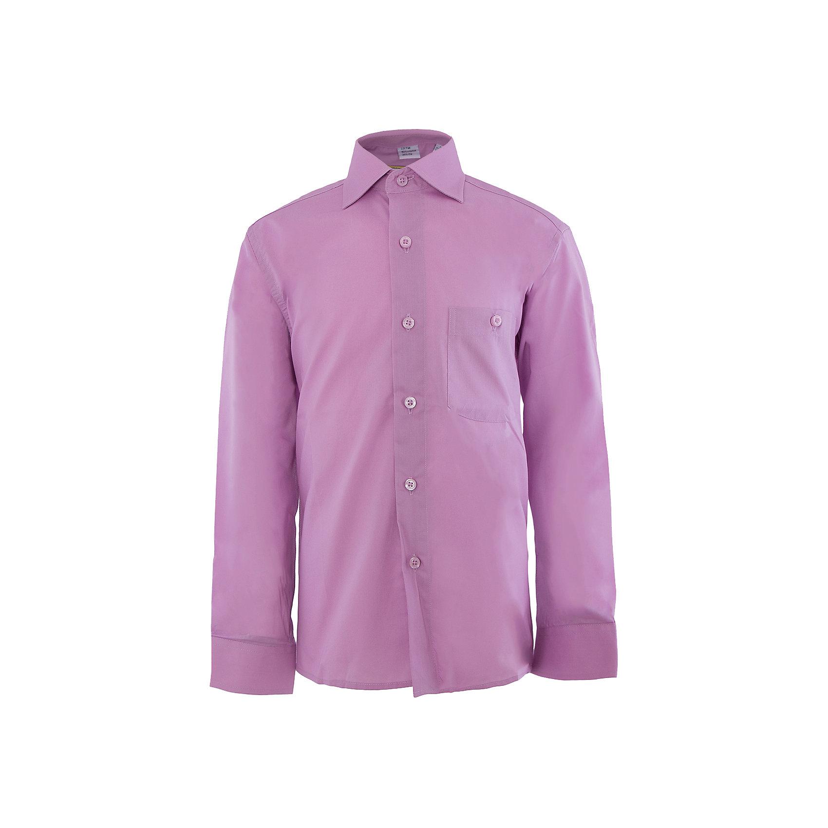 Рубашка для мальчика TsarevichРубашка для мальчика от российской марки Tsarevich<br><br>Красивая сиреневая рубашка с длинным рукавом хорошо сидит по фигуре, не стесняет движения. Материал - гипоаллергенный, дышащий и приятный на ощупь.<br><br>Особенности модели:<br><br>- материал - легкий, с содержанием хлопка;<br>- цвет - сиреневый;<br>- карман на груди с пуговицей;<br>- рукав длинный;<br>- застежки-пуговицы;<br>- манжеты;<br>- отложной воротник;<br>- пуговицы на манжетах.<br><br>Дополнительная информация:<br><br>Состав: 80% хлопок, 20% полиэстер<br><br>Габариты:<br><br>длина рукава - 45 см;<br>длина по спинке - 53 см.<br><br>* соответствует размеру 30/128-134<br><br>Уход за изделием:<br><br>стирка в машине при температуре до 40°С,<br>не отбеливать,<br>гладить на средней температуре.<br><br>Рубашку для мальчика от российской марки Tsarevich (Царевич) можно купить в нашем магазине.<br><br>Ширина мм: 174<br>Глубина мм: 10<br>Высота мм: 169<br>Вес г: 157<br>Цвет: розовый<br>Возраст от месяцев: 84<br>Возраст до месяцев: 96<br>Пол: Мужской<br>Возраст: Детский<br>Размер: 122/128,146/152,128/134,164/170,158/164,152/158,140/146,134/140<br>SKU: 4295908