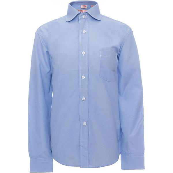 Рубашка для мальчика ImperatorБлузки и рубашки<br>Рубашка для мальчика от российской марки Imperator <br><br>Стильная голубая рубашка отлично подойдет и для школьных будней и для праздничных мероприятий. Модель хорошо сидит, не стесняет движения. Материал - гипоаллергенный, дышащий и приятный на ощупь.<br><br>Особенности модели:<br><br>- материал - тонкий, с содержанием хлопка;<br>- цвет - голубой;<br>- карман на груди;<br>- длинный рукав;<br>- застежки-пуговицы;<br>- отложной воротник и манжеты;<br>- пуговицы на манжетах.<br><br>Дополнительная информация:<br><br>Состав: 65% хлопок, 35% полиэстер<br><br>Габариты:<br><br>длина рукава - 57 см;<br>длина по спинке - 67 см.<br><br>* соответствует размеру 35/158-164<br><br>Уход за изделием:<br><br>стирка в машине при температуре до 40°С,<br>не отбеливать,<br>гладить на средней температуре.<br><br>Рубашку для мальчика от российской марки Imperator (Император) можно купить в нашем магазине.<br><br>Ширина мм: 174<br>Глубина мм: 10<br>Высота мм: 169<br>Вес г: 157<br>Цвет: лиловый<br>Возраст от месяцев: 84<br>Возраст до месяцев: 96<br>Пол: Мужской<br>Возраст: Детский<br>Размер: 122/128,140/146,158/164,128/134,152/158,146/152,164/170,134/140<br>SKU: 4295938