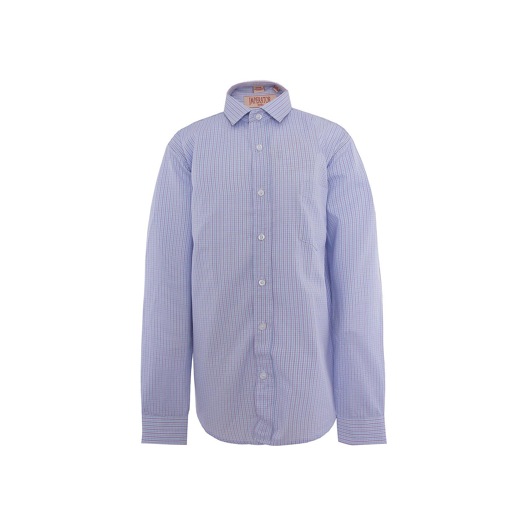 Рубашка для мальчика ImperatorРубашка для мальчика от российской марки Imperator <br><br>Красивая и удобная рубашка отлично подойдет и для школьных будней и для праздничных мероприятий. Модель хорошо сидит, не стесняет движения. Материал - гипоаллергенный, дышащий и приятный на ощупь.<br><br>Особенности модели:<br><br>- материал - тонкий, с содержанием хлопка;<br>- цвет - сиреневый;<br>- карман на груди;<br>- длинный рукав;<br>- застежки-пуговицы;<br>- отложной воротник и манжеты;<br>- пуговицы на манжетах.<br><br>Дополнительная информация:<br><br>Состав: 65% хлопок, 35% полиэстер<br><br>Габариты:<br><br>длина рукава - 57 см;<br>длина по спинке - 67 см.<br><br>* соответствует размеру 35/158-164<br><br>Уход за изделием:<br><br>стирка в машине при температуре до 40°С,<br>не отбеливать,<br>гладить на средней температуре.<br><br>Рубашку для мальчика от российской марки Imperator (Император) можно купить в нашем магазине.<br><br>Ширина мм: 174<br>Глубина мм: 10<br>Высота мм: 169<br>Вес г: 157<br>Цвет: фиолетовый<br>Возраст от месяцев: 96<br>Возраст до месяцев: 108<br>Пол: Мужской<br>Возраст: Детский<br>Размер: 128/134,140/146,122/128,158/164,152/158,146/152,134/140,164/170<br>SKU: 4295947